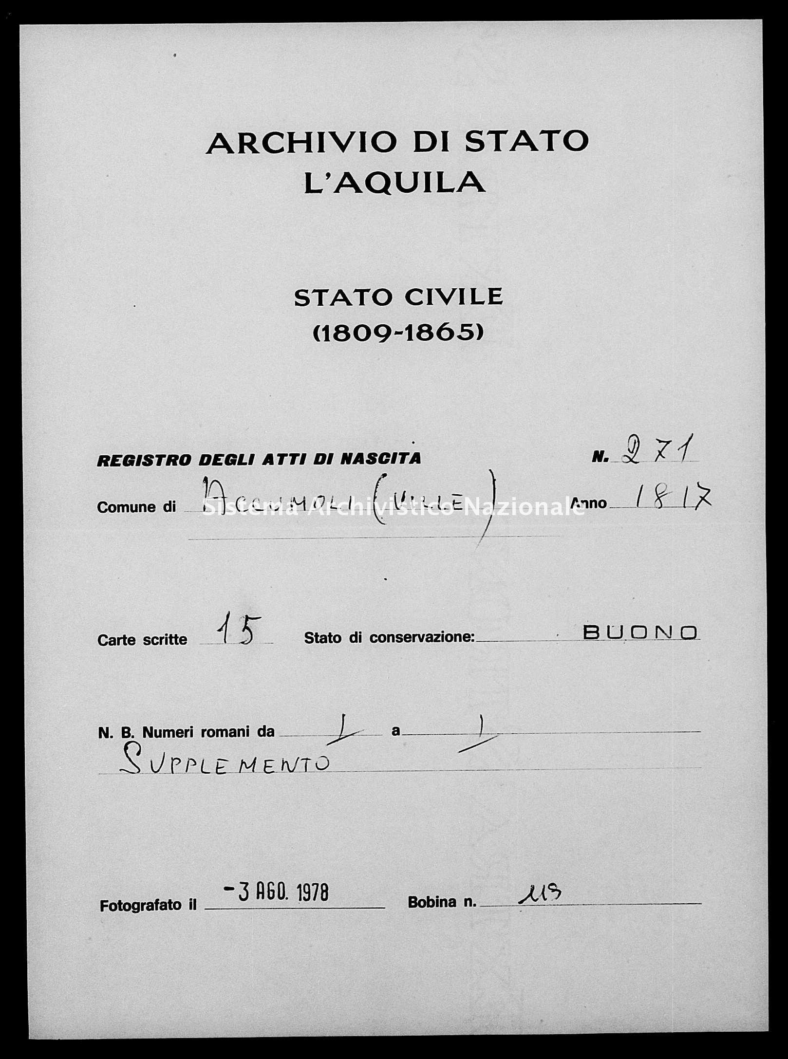 Archivio di stato di L'aquila - Stato civile della restaurazione - Accumoli - Nati - 13/03/1817-27/12/1817 - 271 -