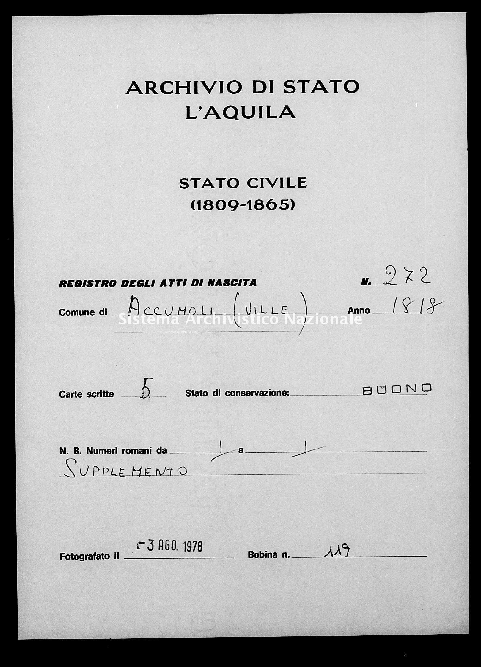 Archivio di stato di L'aquila - Stato civile della restaurazione - Accumoli - Nati - 17/02/1818-18/08/1818 - 272 -