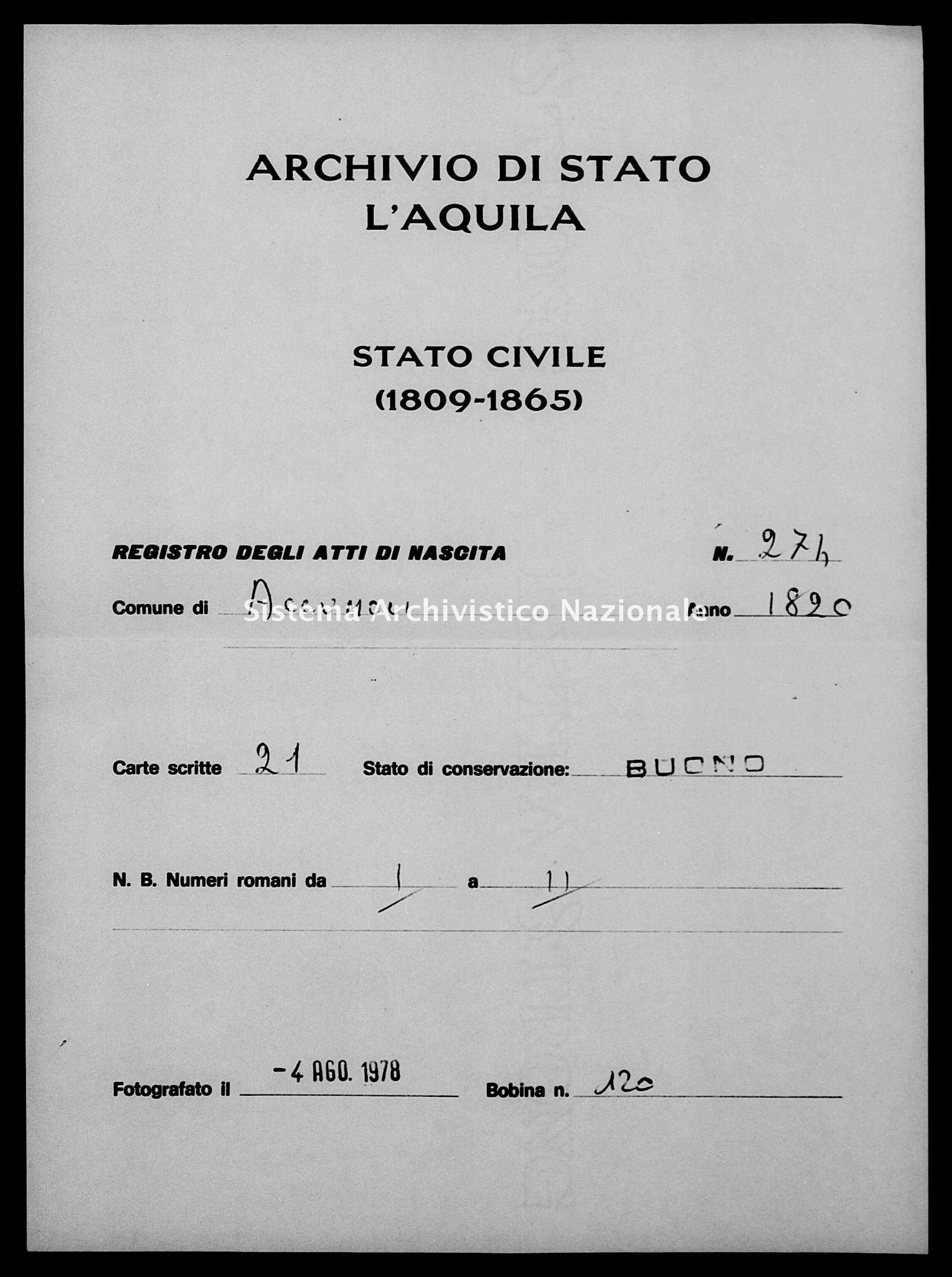 Archivio di stato di L'aquila - Stato civile della restaurazione - Accumoli - Nati - 1820 - 274 -