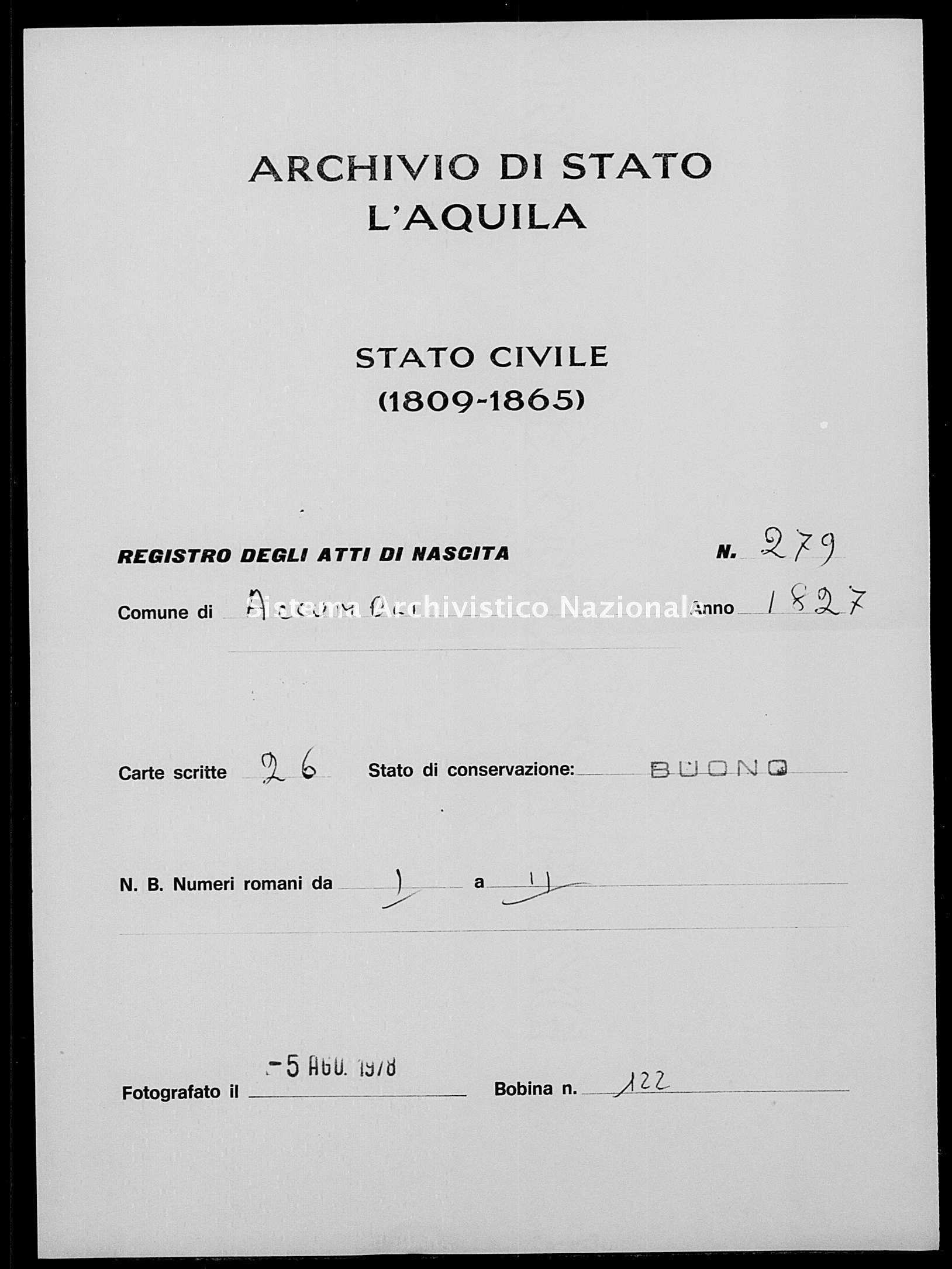 Archivio di stato di L'aquila - Stato civile della restaurazione - Accumoli - Nati - 1827 - 279 -