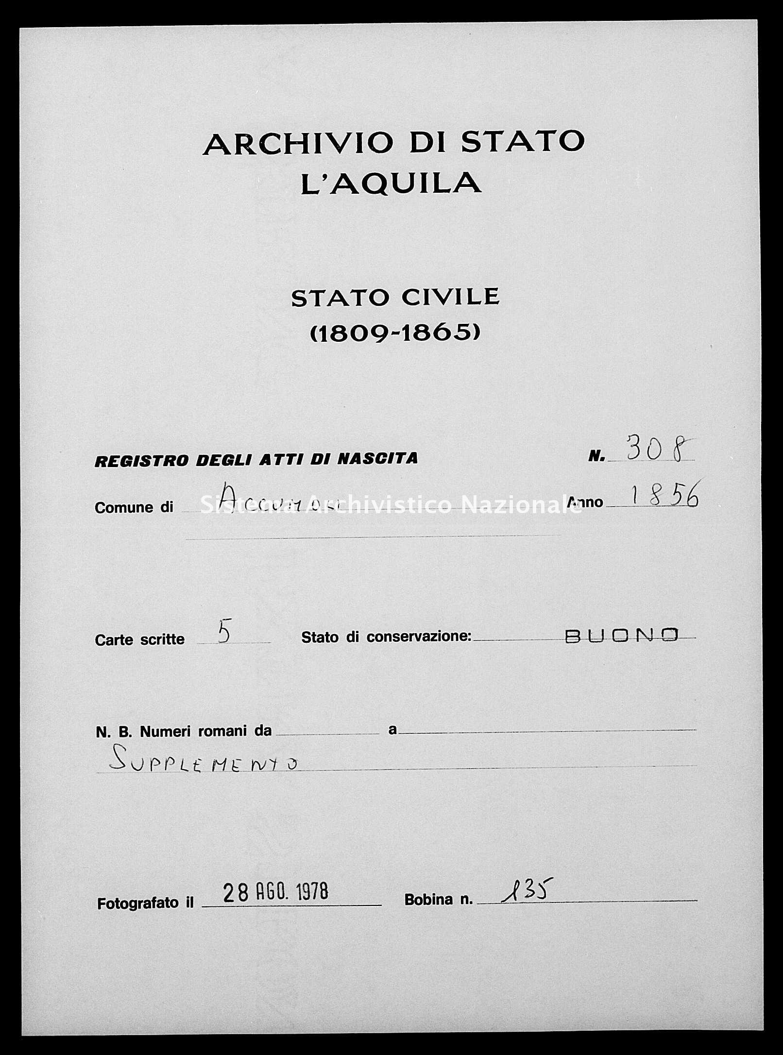 Archivio di stato di L'aquila - Stato civile della restaurazione - Accumoli - Nati, battesimi esposti - 1856 - 308 -