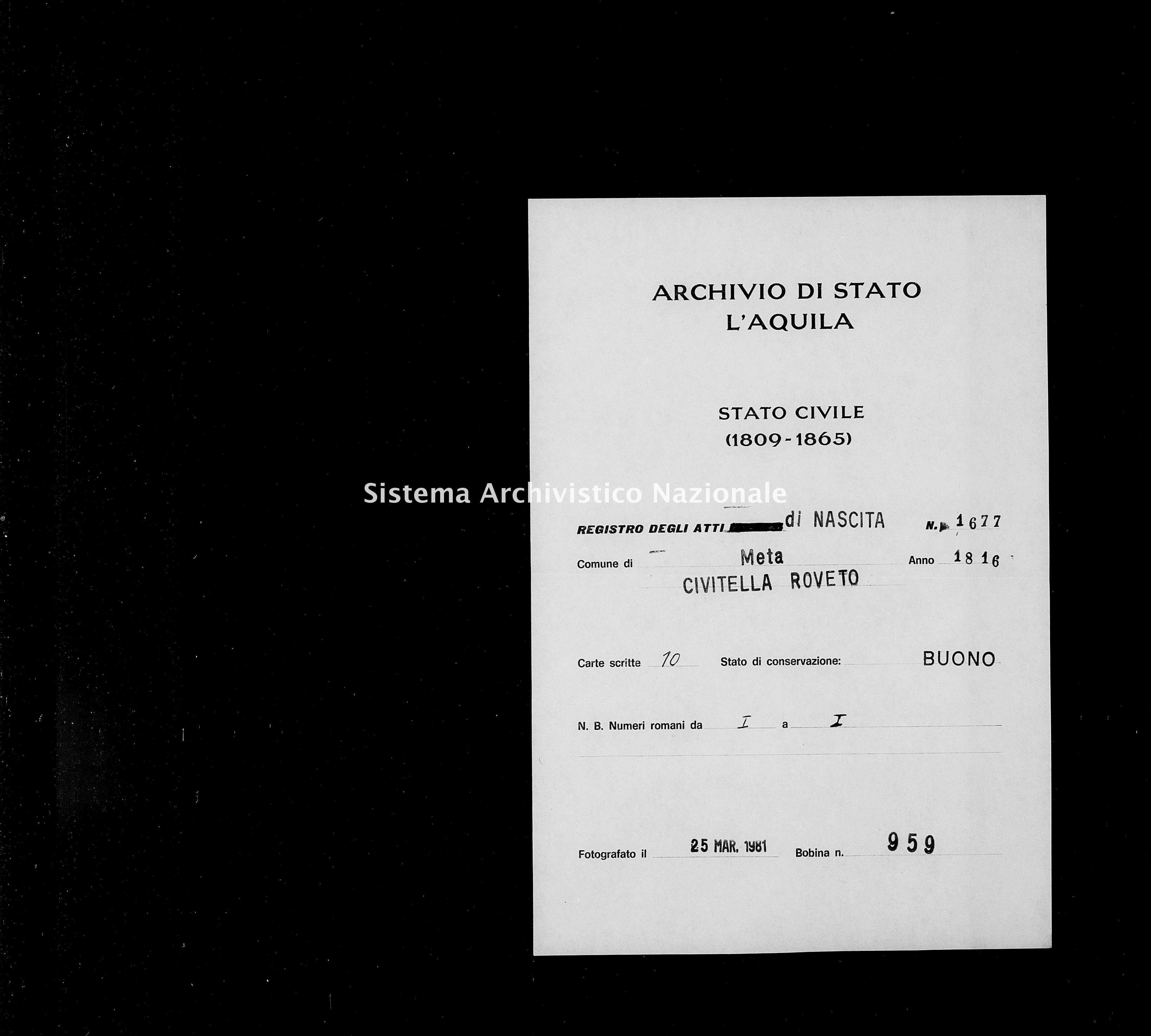 Archivio di stato di L'aquila - Stato civile della restaurazione - Meta - Nati - 1816 - 1677 -