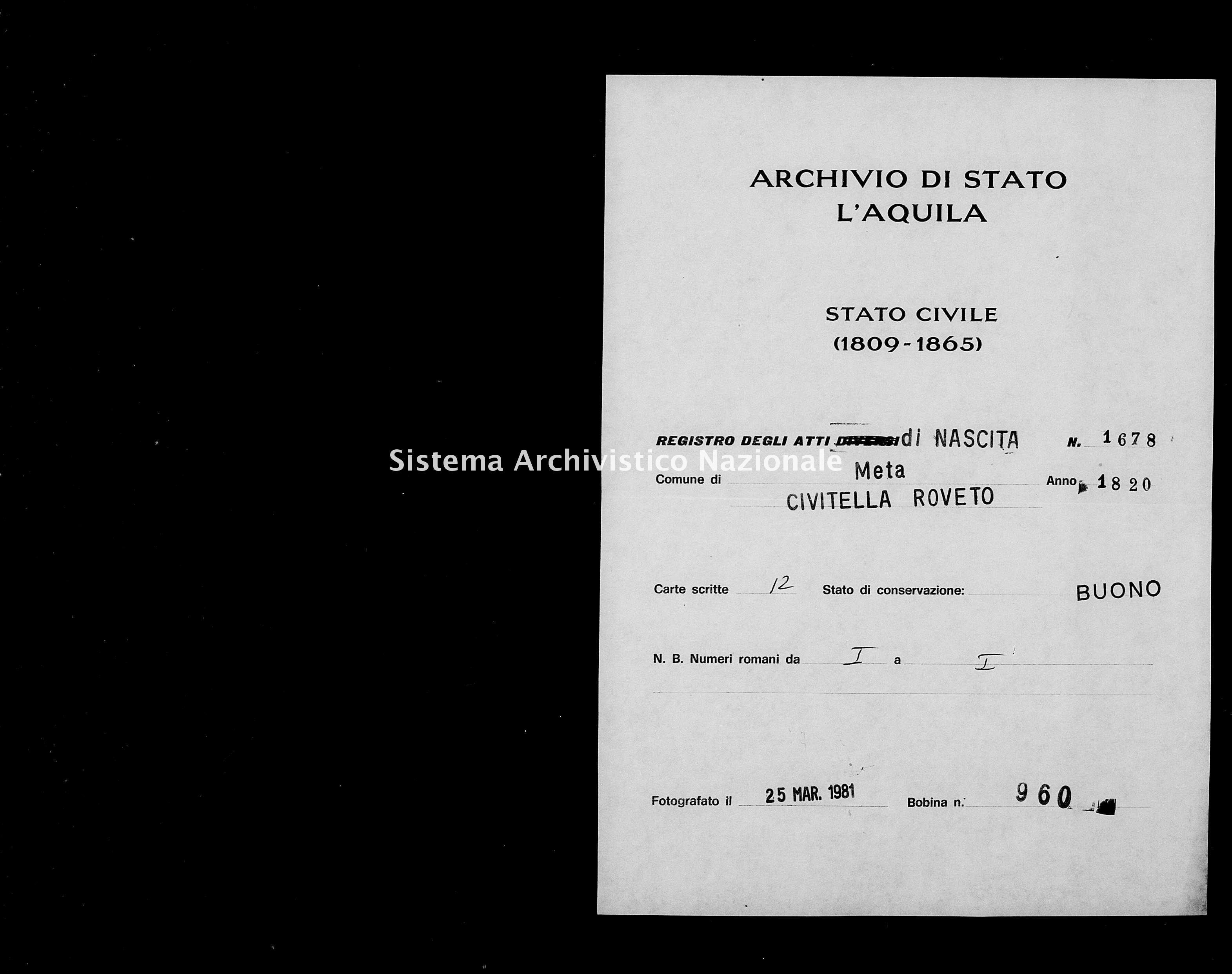 Archivio di stato di L'aquila - Stato civile della restaurazione - Meta - Nati - 1820 - 1678 -