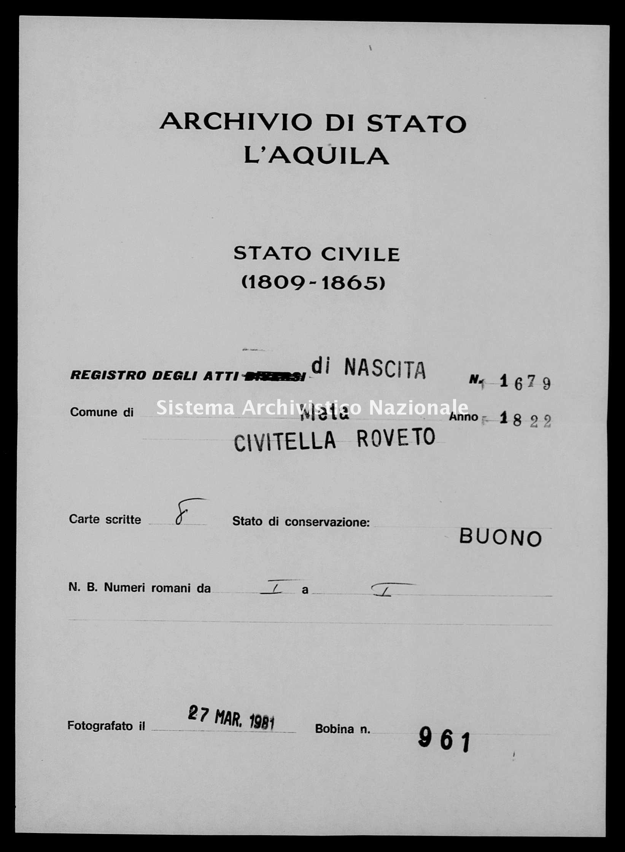 Archivio di stato di L'aquila - Stato civile della restaurazione - Meta - Nati - 1822 - 1679 -