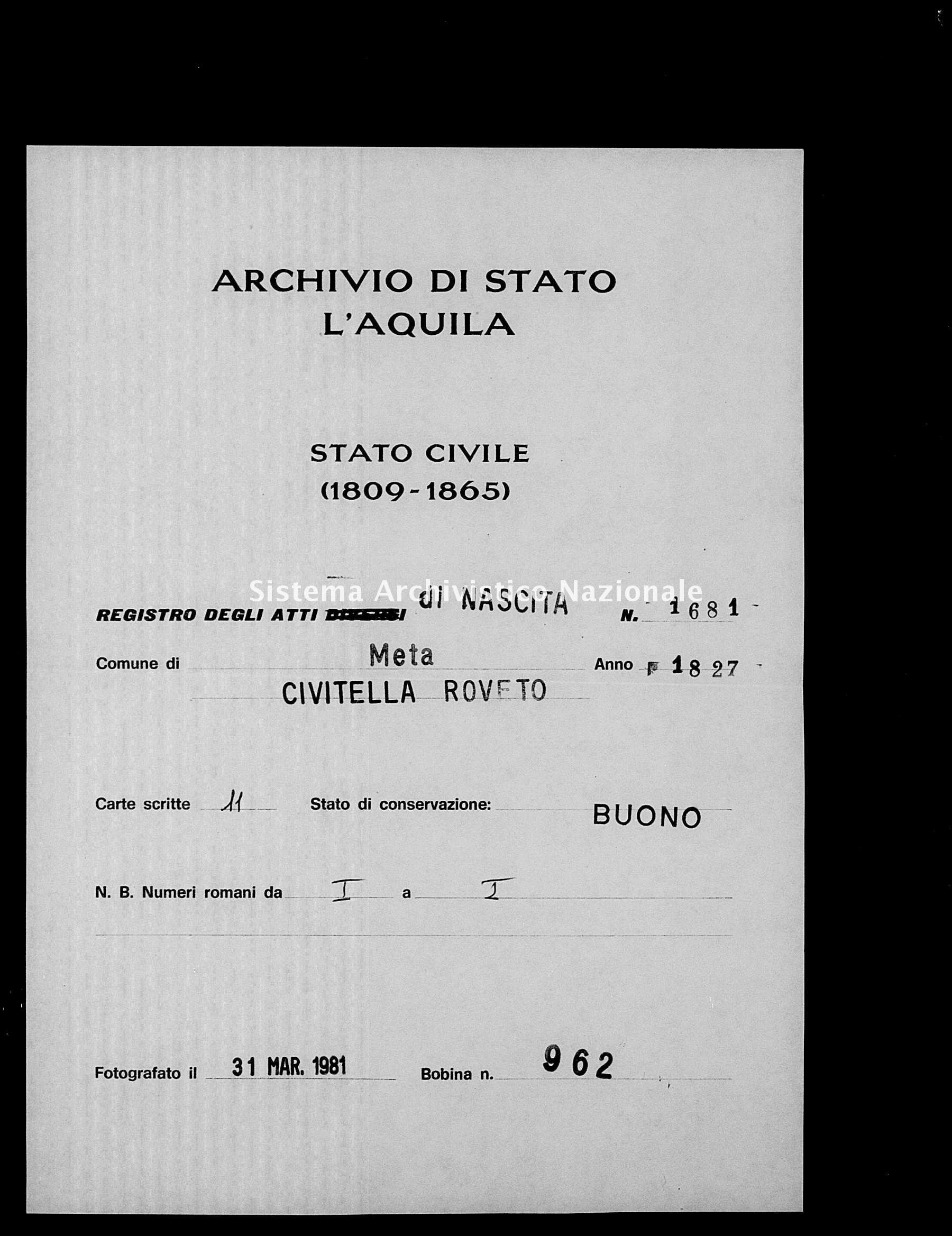 Archivio di stato di L'aquila - Stato civile della restaurazione - Meta - Nati - 1827 - 1681 -
