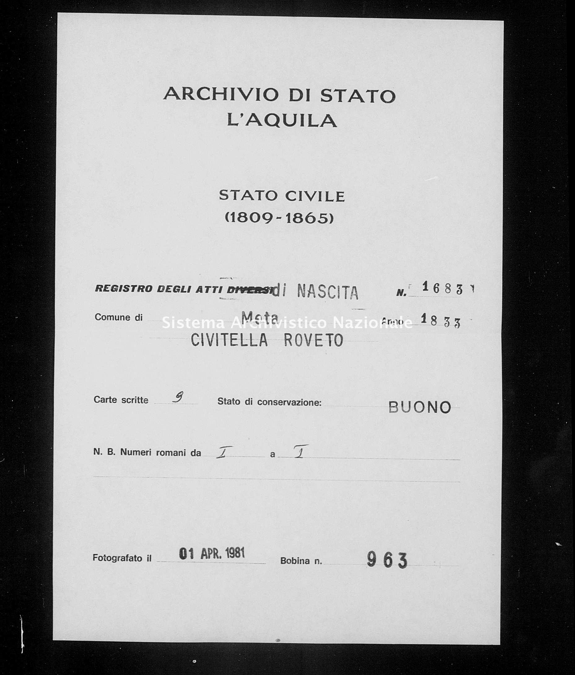 Archivio di stato di L'aquila - Stato civile della restaurazione - Meta - Nati - 1833 - 1683 -