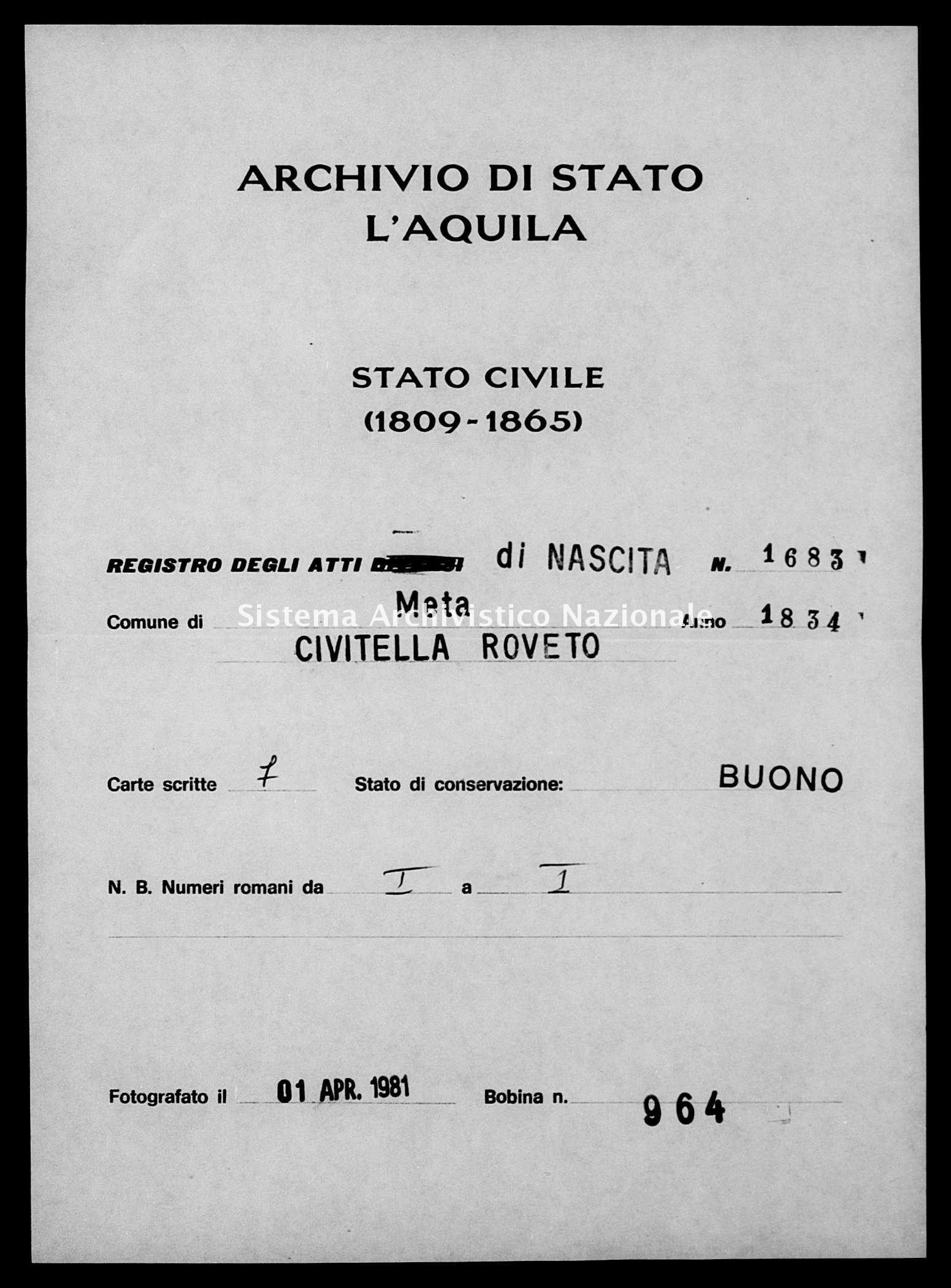 Archivio di stato di L'aquila - Stato civile della restaurazione - Meta - Nati - 1834 - 1683 -