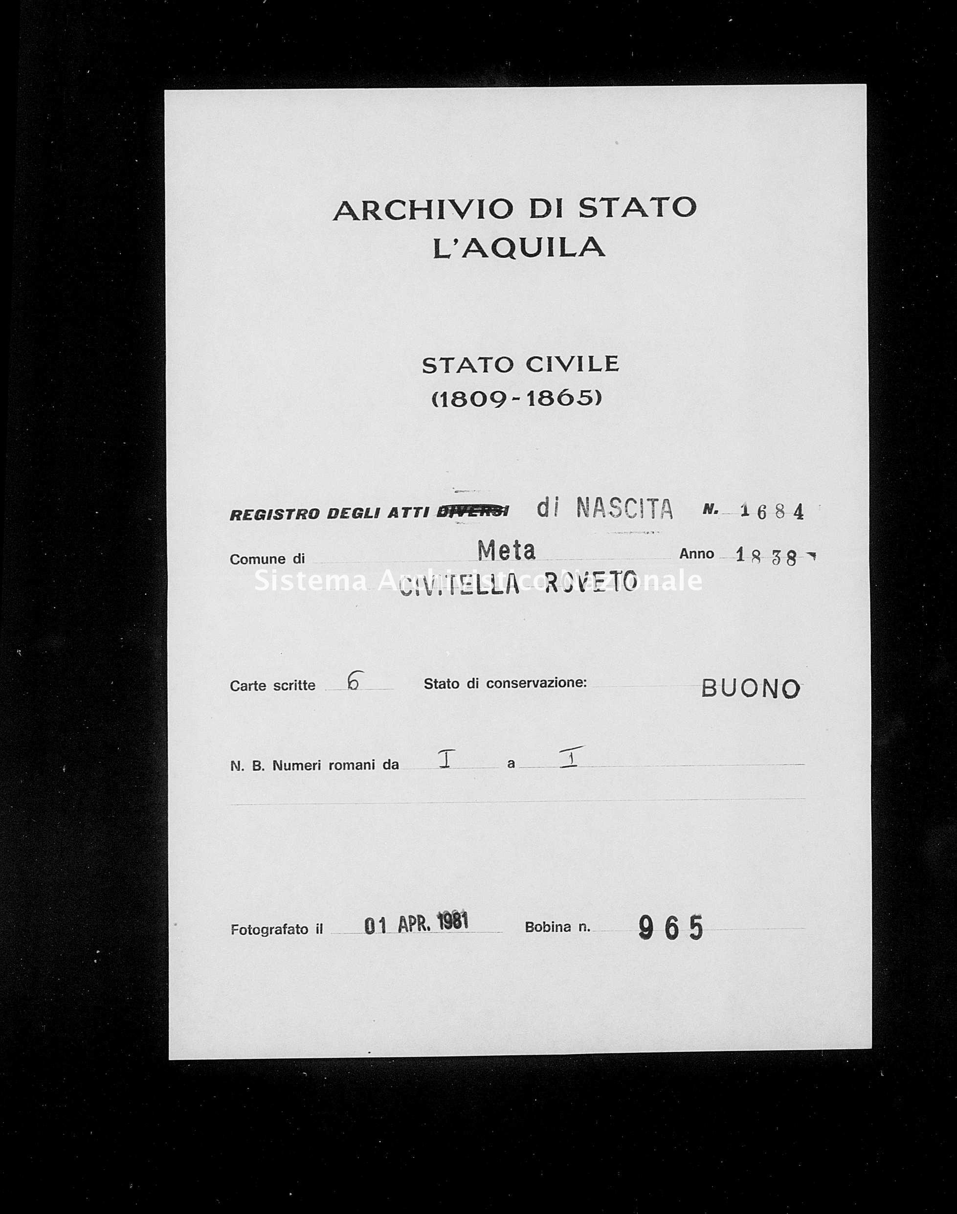 Archivio di stato di L'aquila - Stato civile della restaurazione - Meta - Nati - 1838 - 1684 -