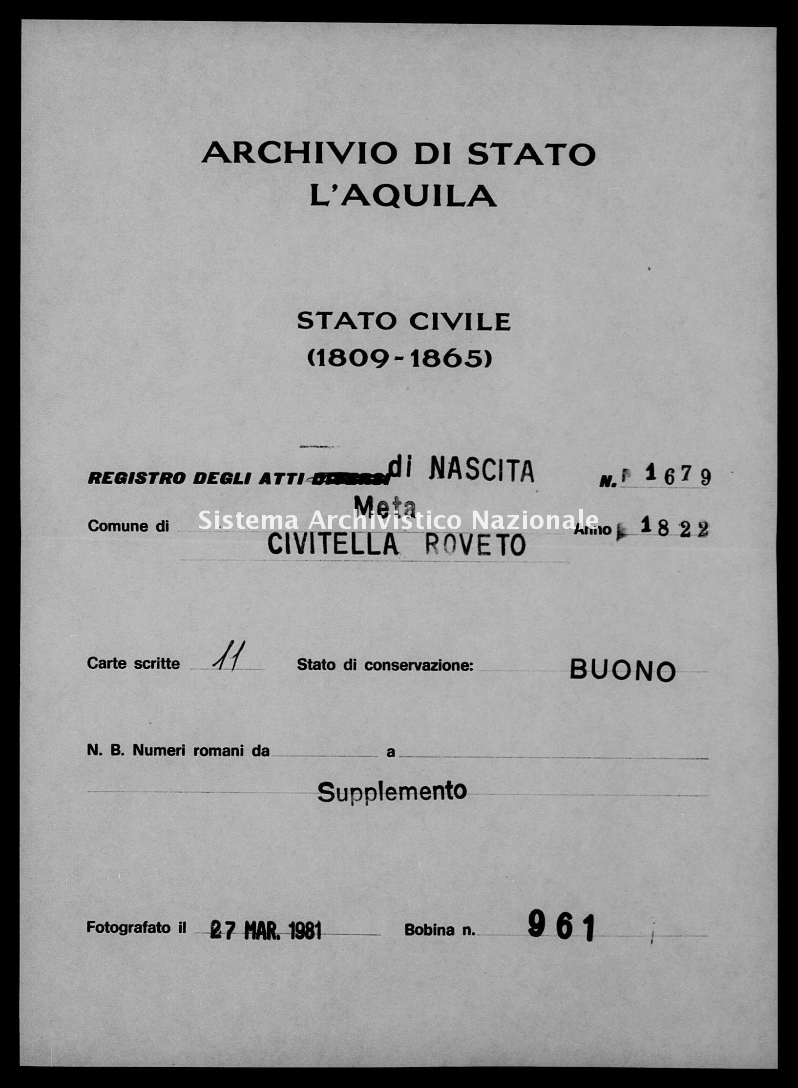Archivio di stato di L'aquila - Stato civile della restaurazione - Meta - Nati, battesimi - 1822 - 1679 -
