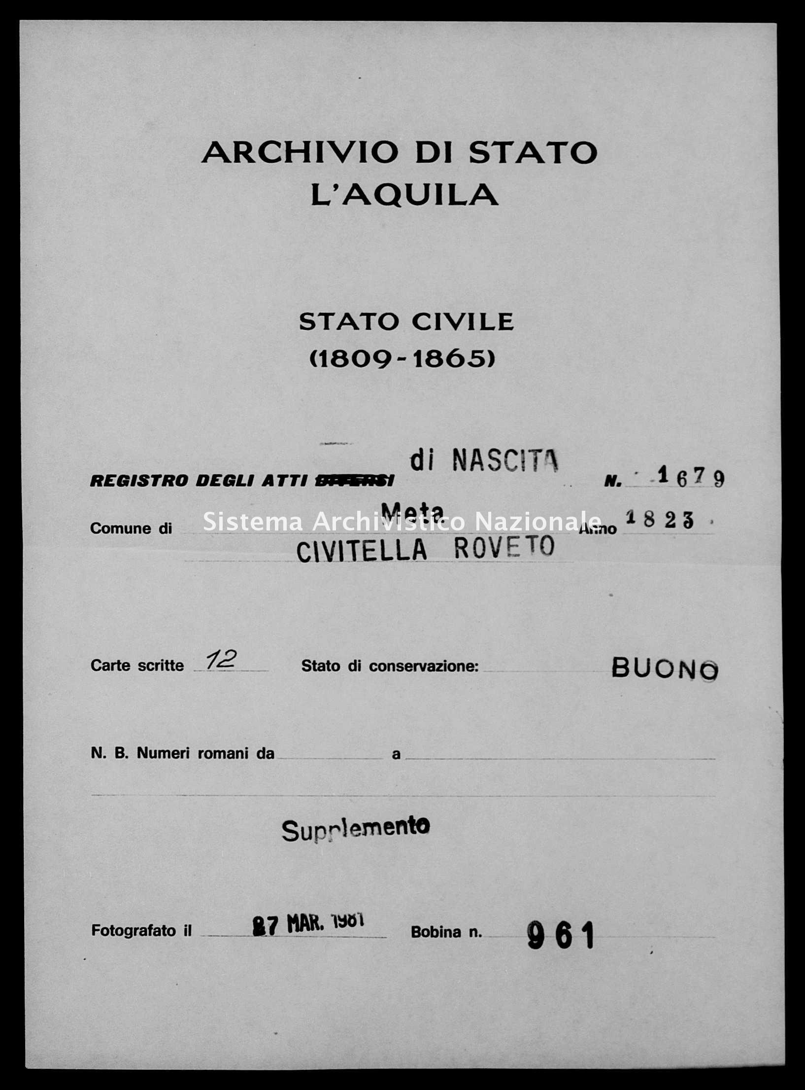 Archivio di stato di L'aquila - Stato civile della restaurazione - Meta - Nati, battesimi - 1823 - 1679 -