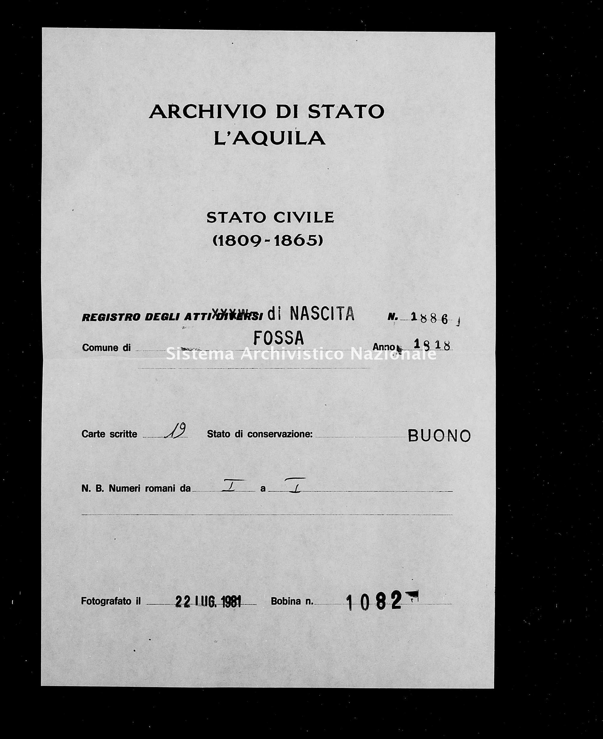 Archivio di stato di L'aquila - Stato civile della restaurazione - Fossa - Nati - 1818 - 1886 -