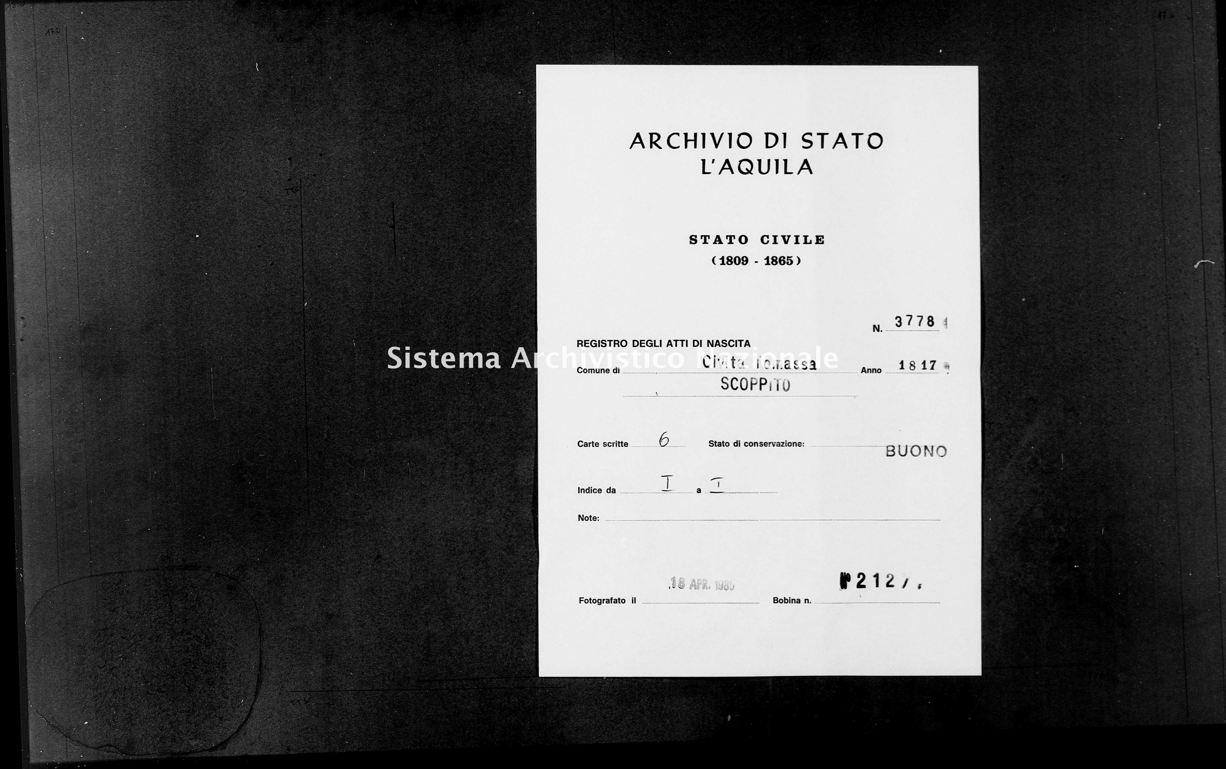 Archivio di stato di L'aquila - Stato civile della restaurazione - Civitatomassa - Nati - 1817 - 3778 -