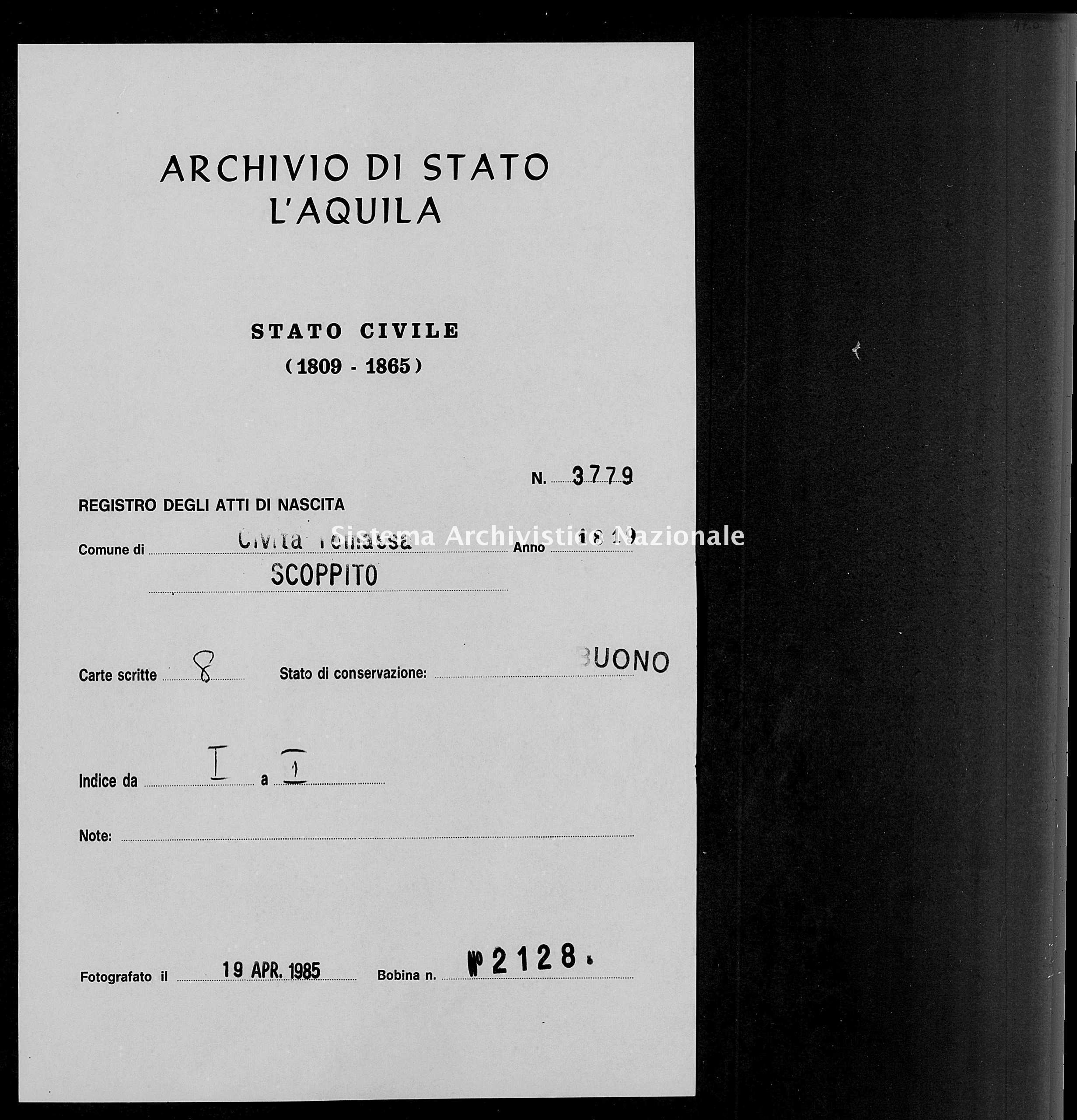 Archivio di stato di L'aquila - Stato civile della restaurazione - Civitatomassa - Nati - 1819 - 3779 -