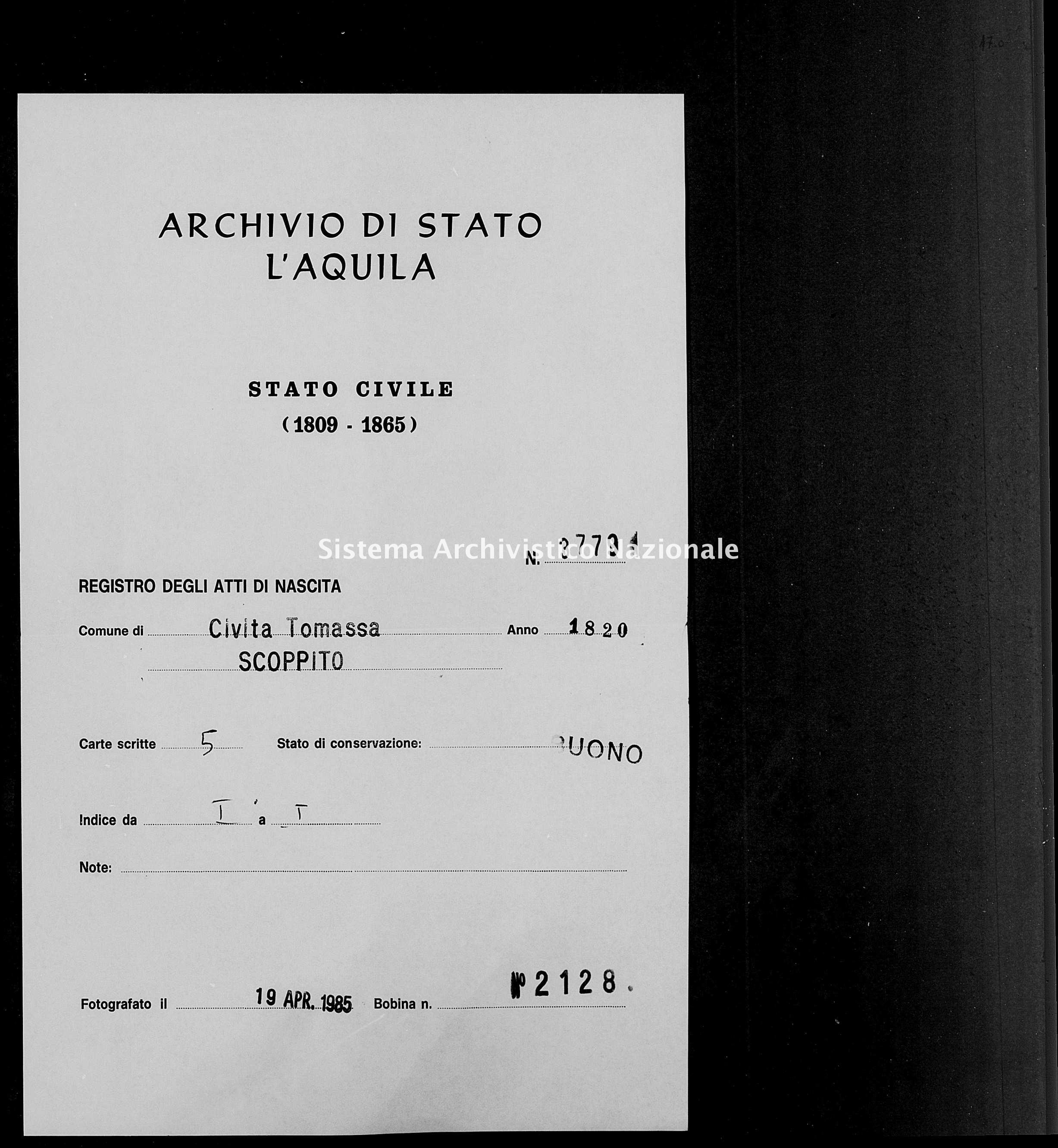 Archivio di stato di L'aquila - Stato civile della restaurazione - Civitatomassa - Nati - 1820 - 3779 -