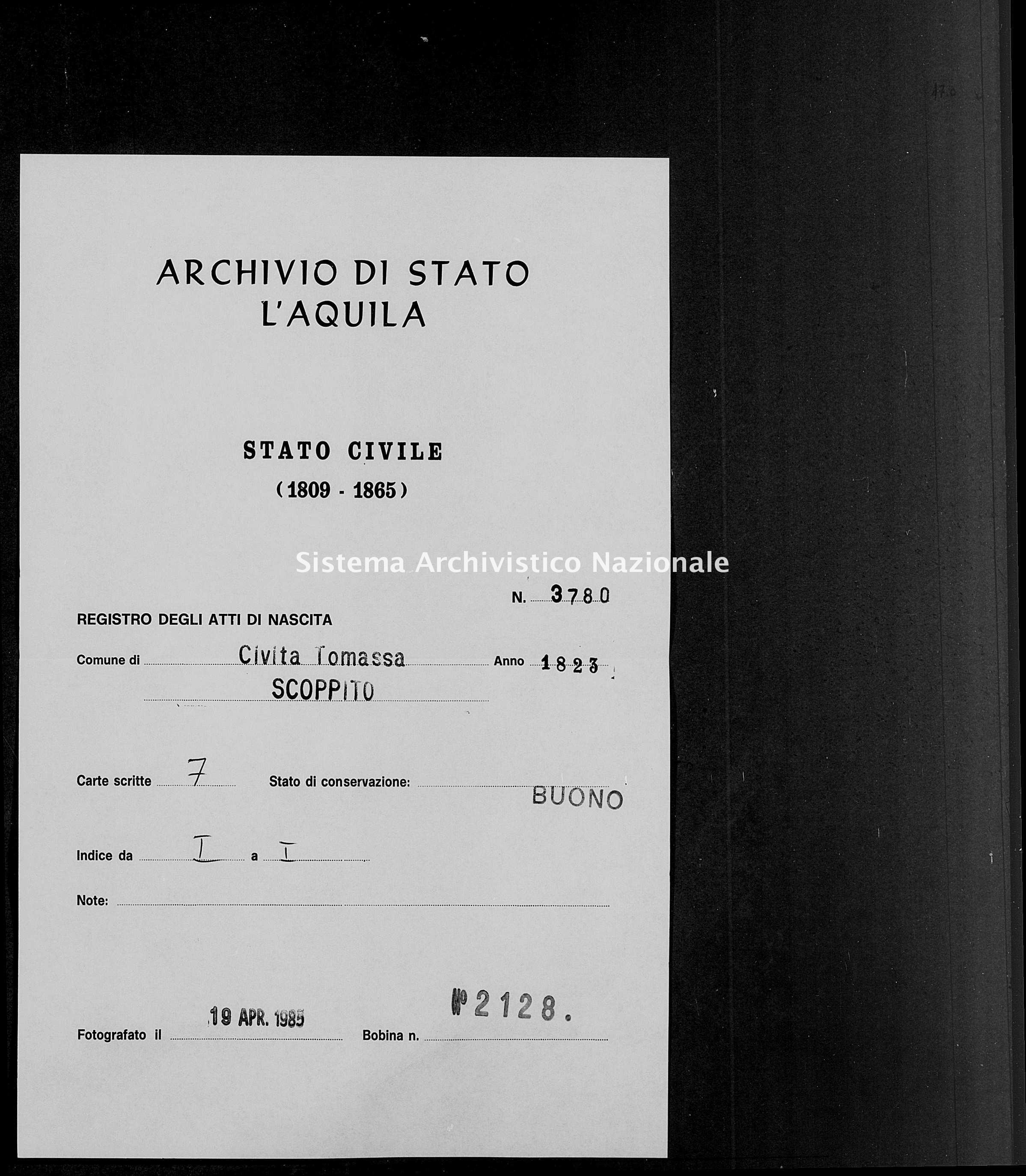 Archivio di stato di L'aquila - Stato civile della restaurazione - Civitatomassa - Nati - 1823 - 3780 -