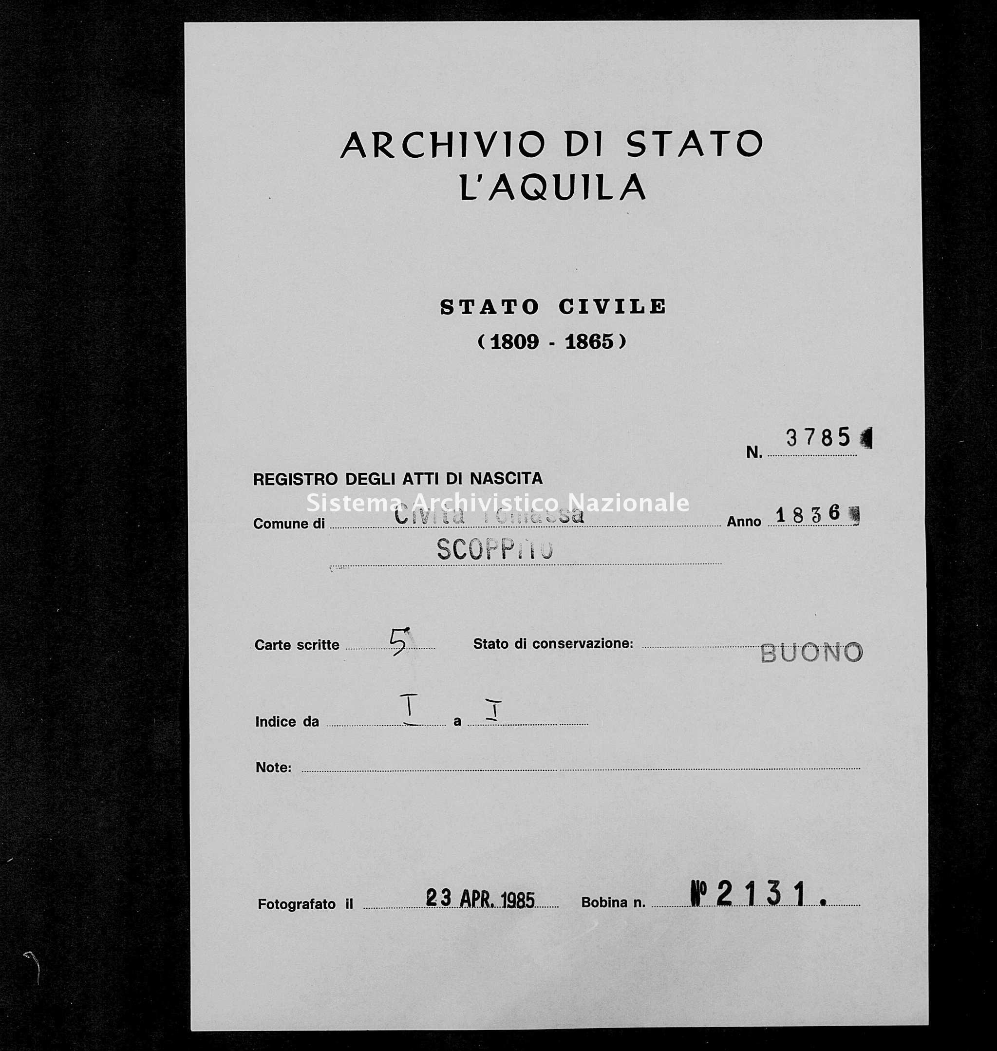 Archivio di stato di L'aquila - Stato civile della restaurazione - Civitatomassa - Nati - 1836 - 3785 -