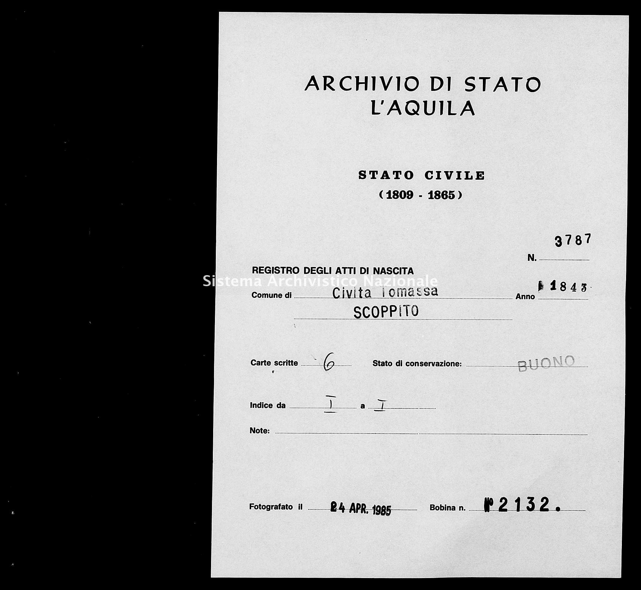 Archivio di stato di L'aquila - Stato civile della restaurazione - Civitatomassa - Nati - 1843 - 3787 -