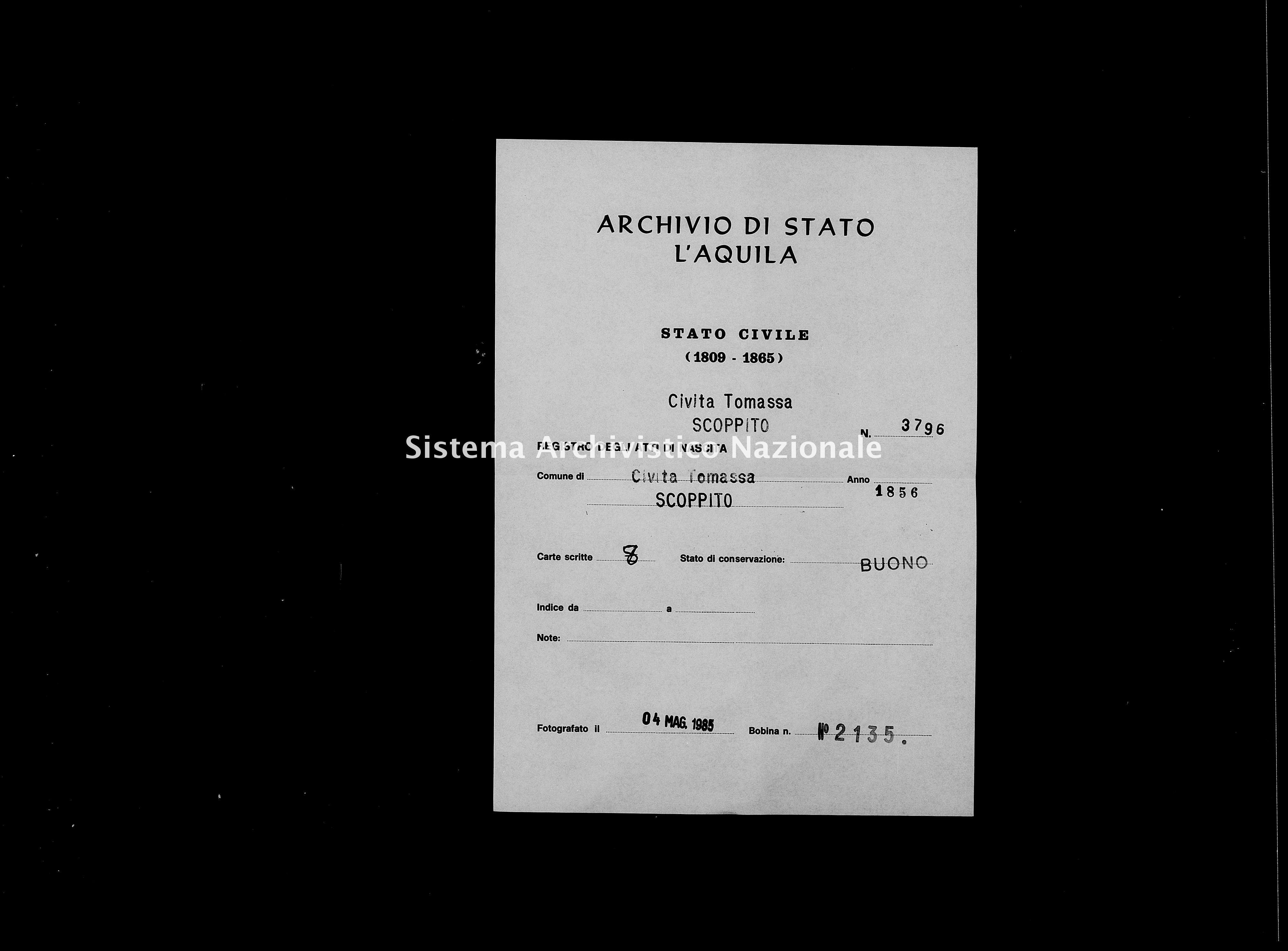 Archivio di stato di L'aquila - Stato civile della restaurazione - Civitatomassa - Nati - 1856 - 3796 -