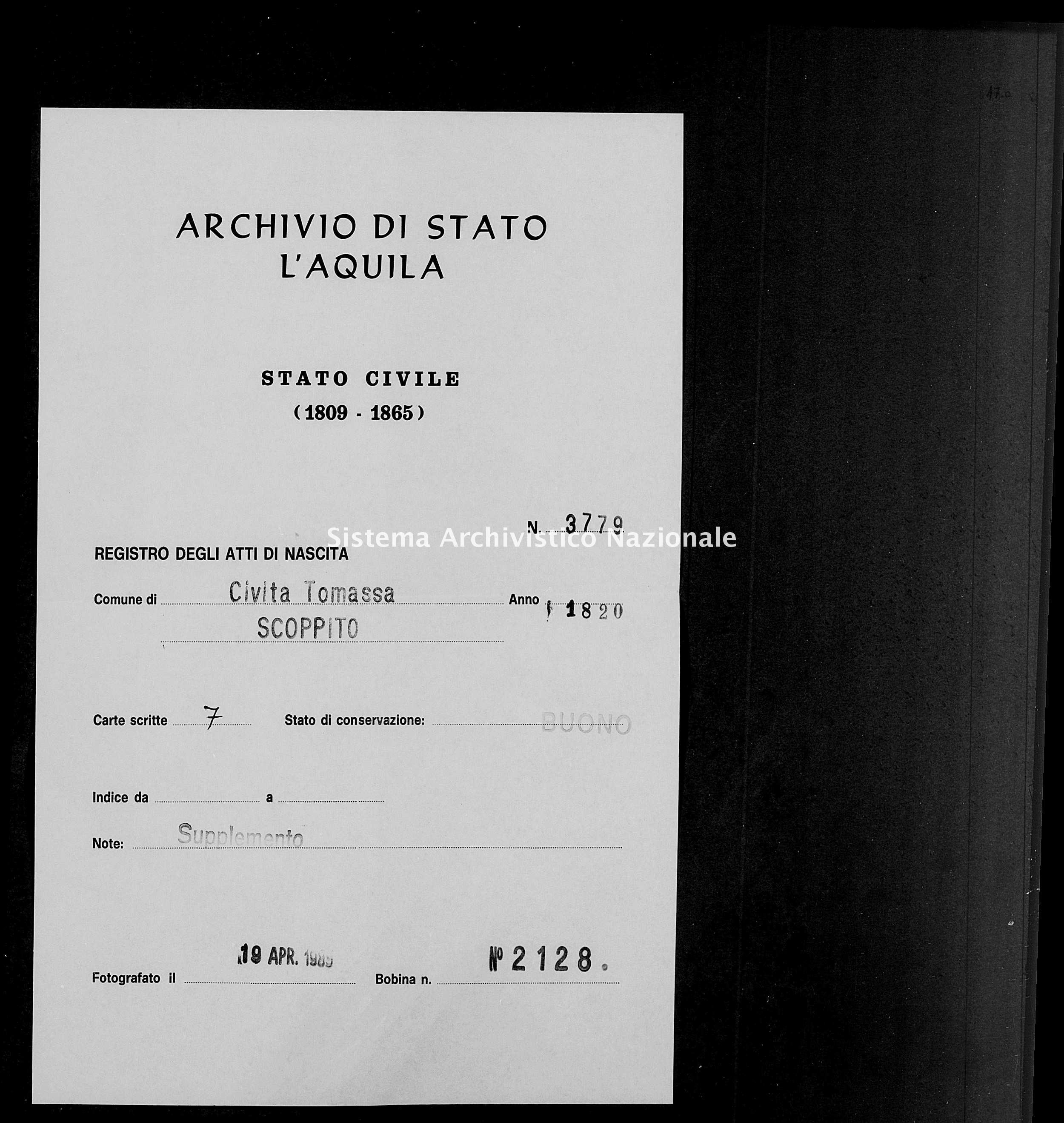 Archivio di stato di L'aquila - Stato civile della restaurazione - Civitatomassa - Nati, battesimi - 1820 - 3779 -