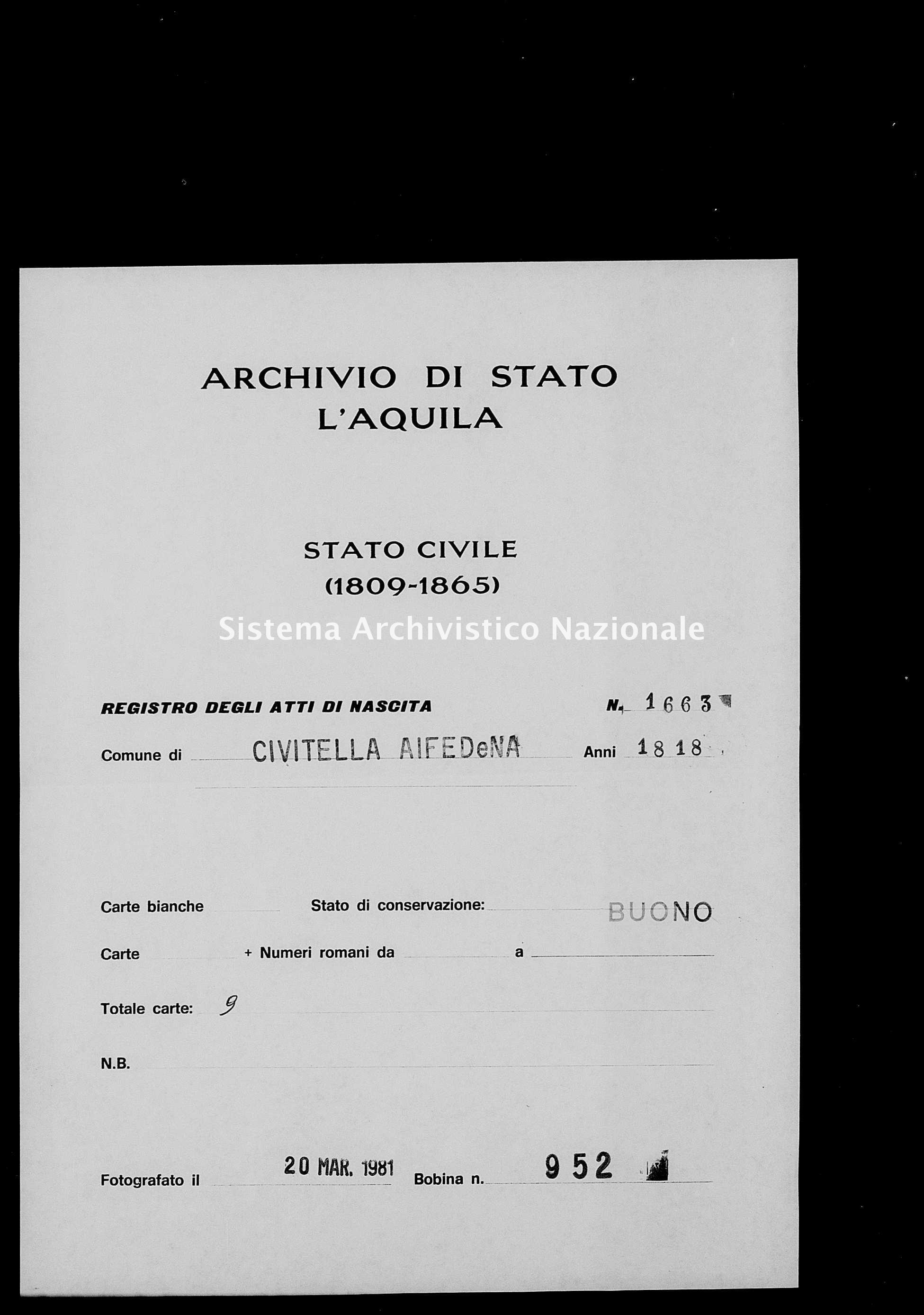 Archivio di stato di L'aquila - Stato civile della restaurazione - Civitella Alfedena - Nati - 1818 - 1663 -