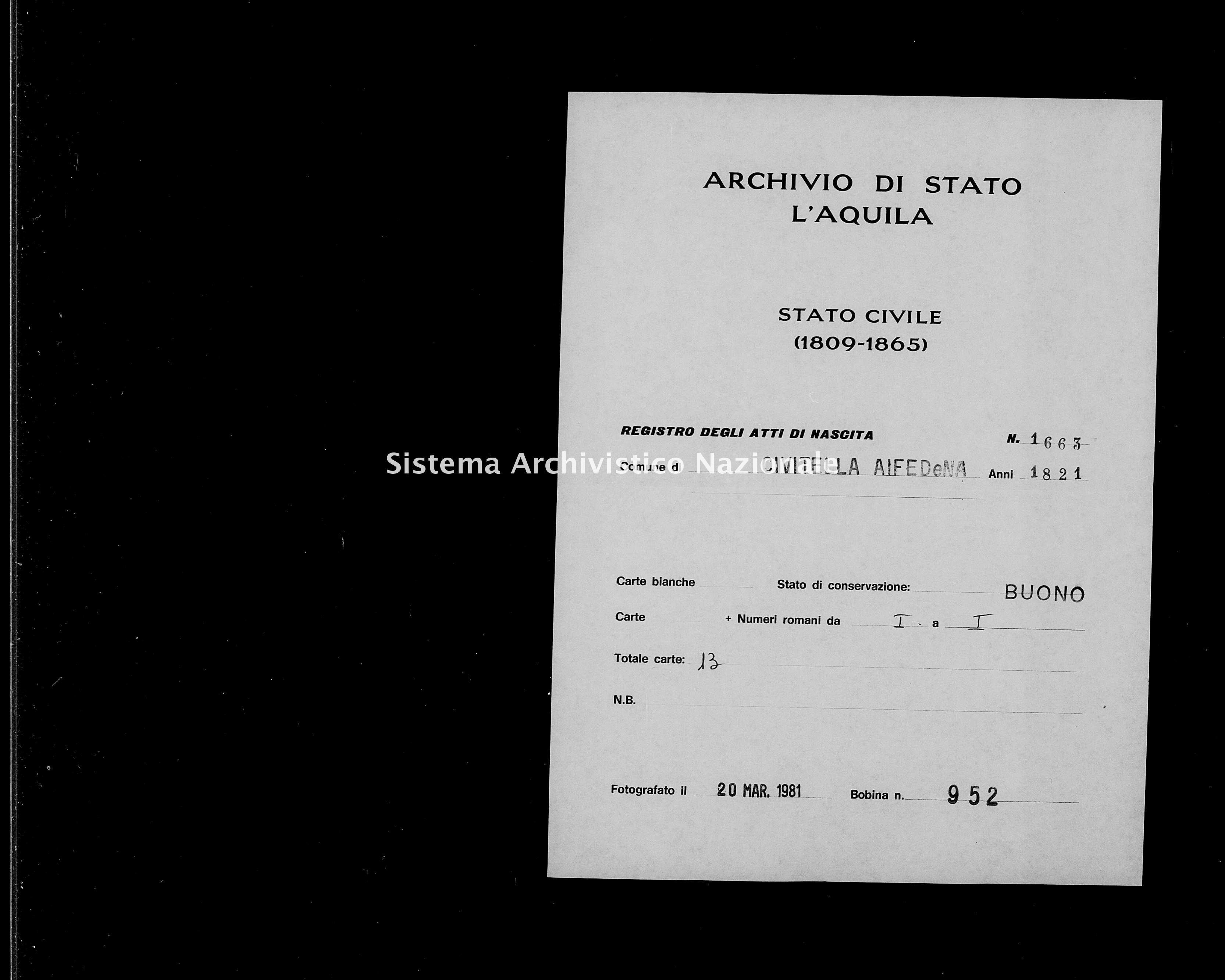 Archivio di stato di L'aquila - Stato civile della restaurazione - Civitella Alfedena - Nati - 1821 - 1663 -