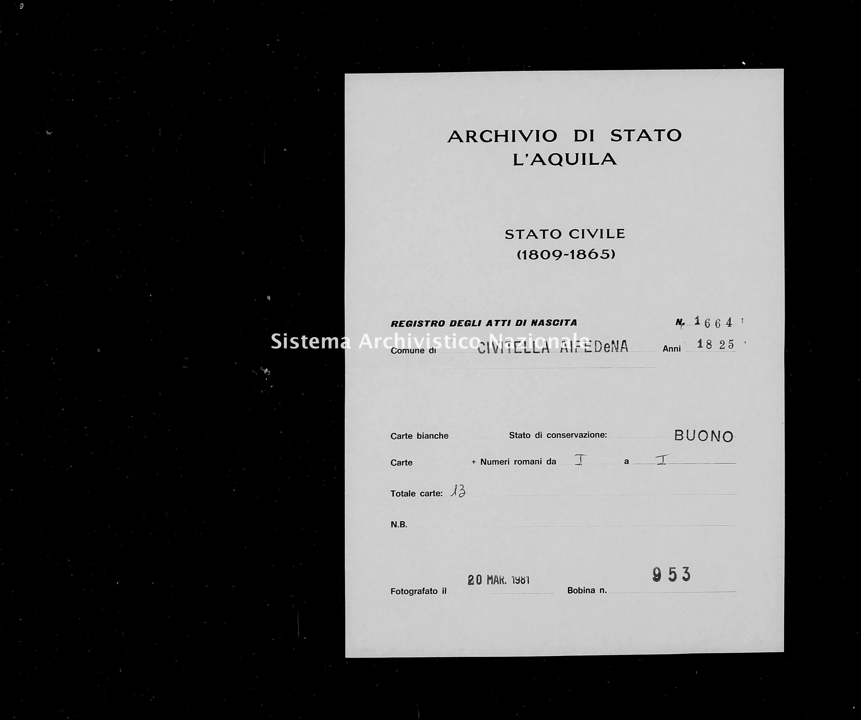 Archivio di stato di L'aquila - Stato civile della restaurazione - Civitella Alfedena - Nati - 1825 - 1664 -