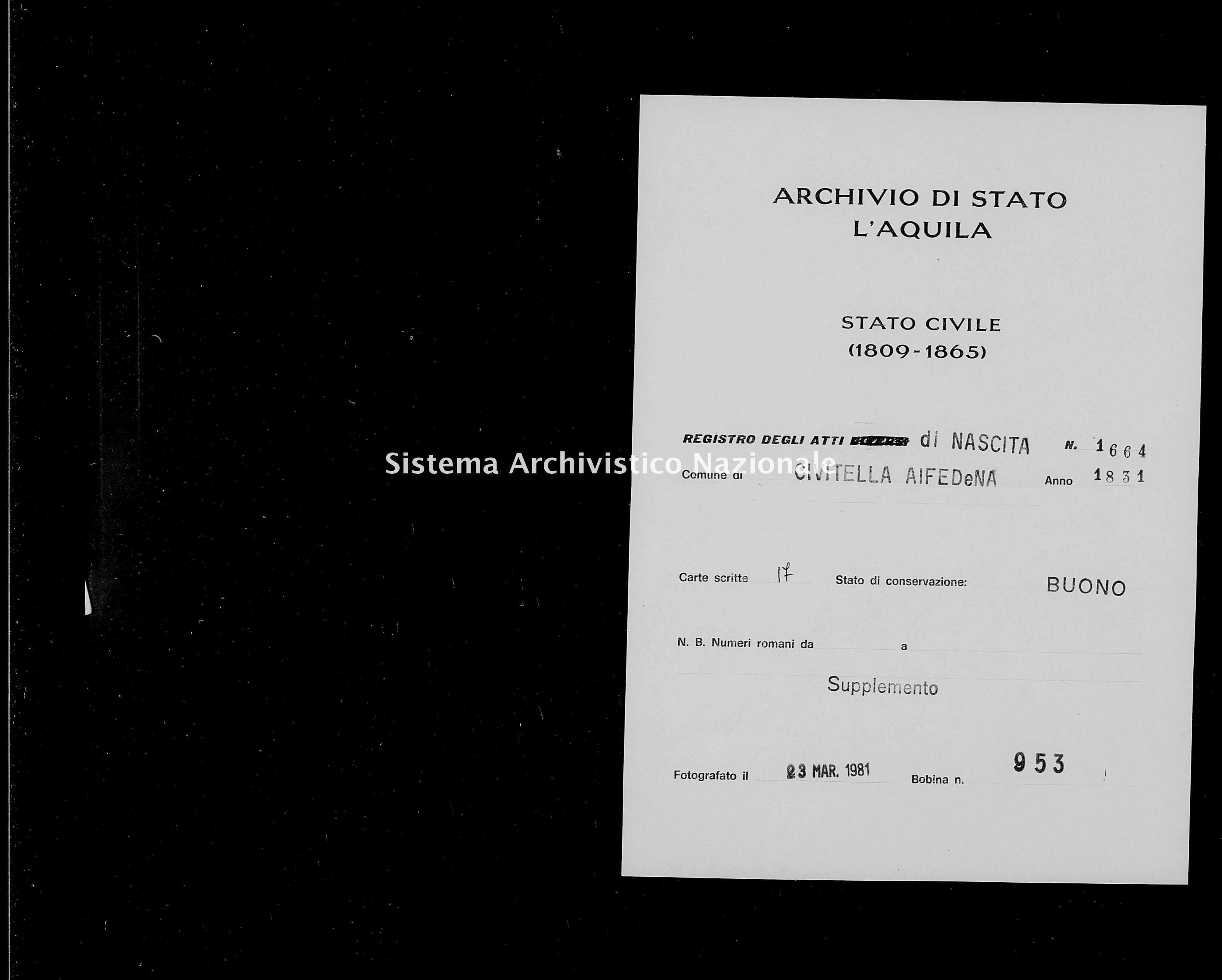Archivio di stato di L'aquila - Stato civile della restaurazione - Civitella Alfedena - Nati, battesimi - 1831 - 1664 -