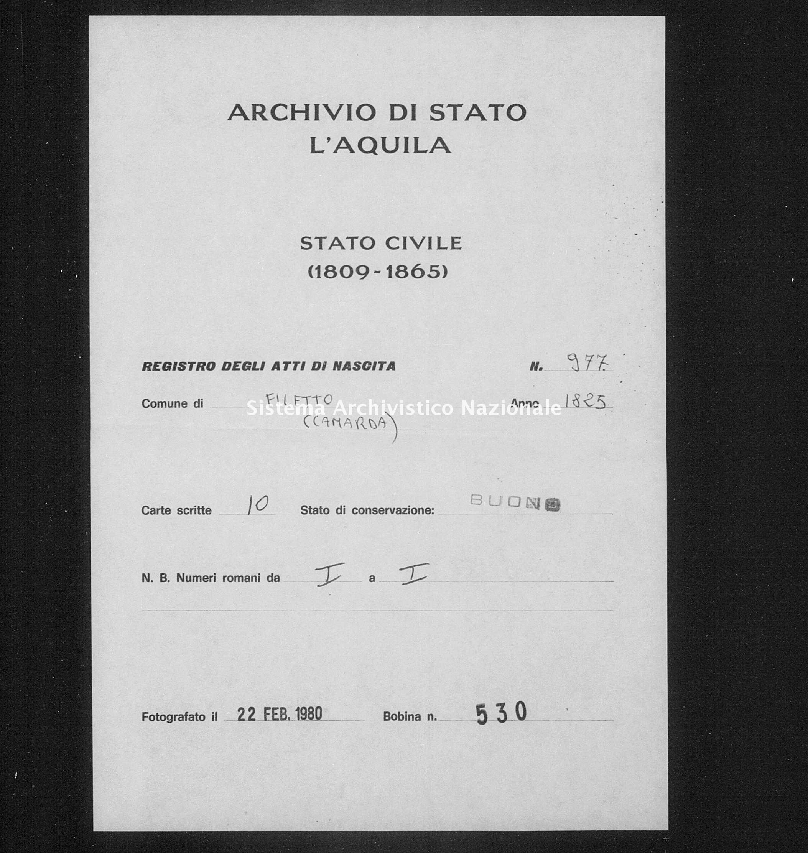 Archivio di stato di L'aquila - Stato civile della restaurazione - Filetto - Nati - 1825 - 977 -