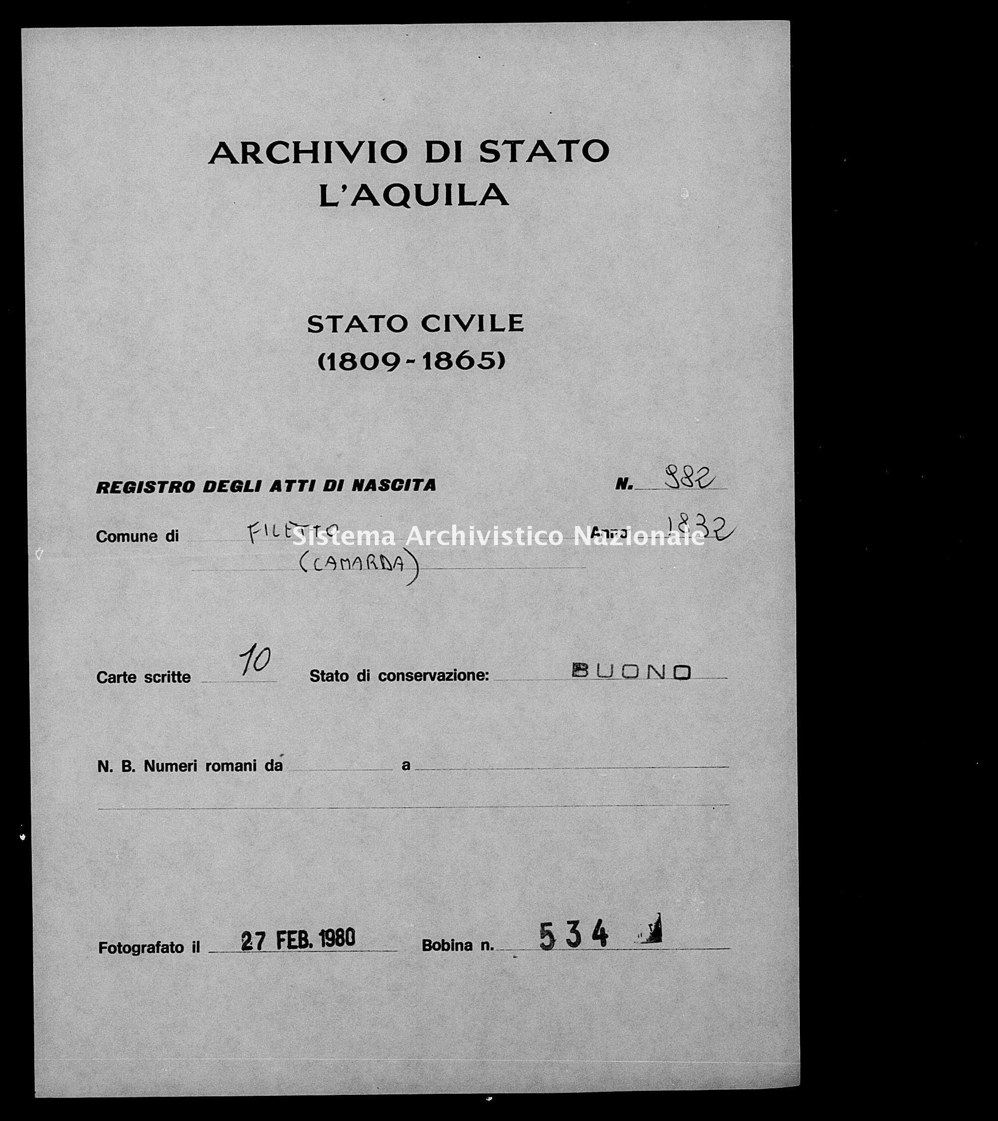 Archivio di stato di L'aquila - Stato civile della restaurazione - Filetto - Nati - 1832 - 982 -