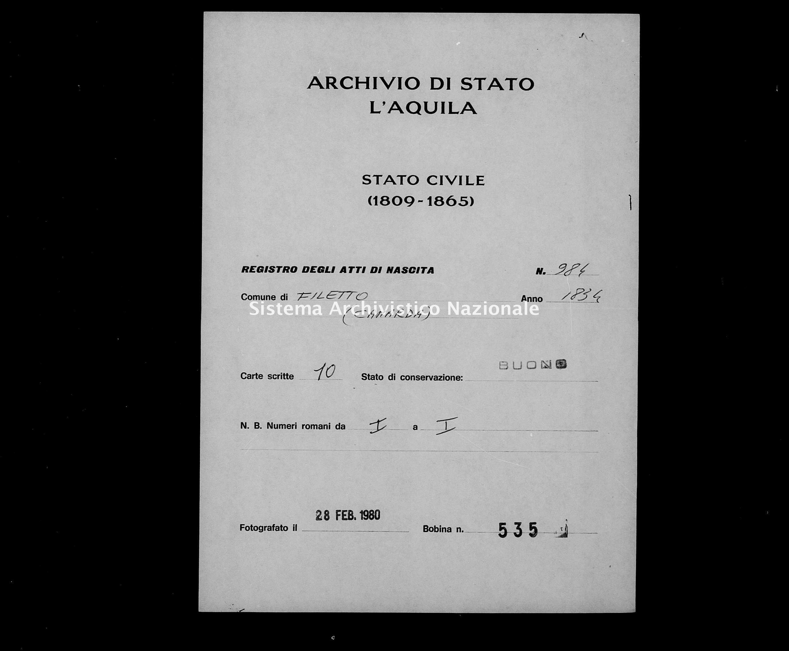 Archivio di stato di L'aquila - Stato civile della restaurazione - Filetto - Nati - 1834 - 984 -