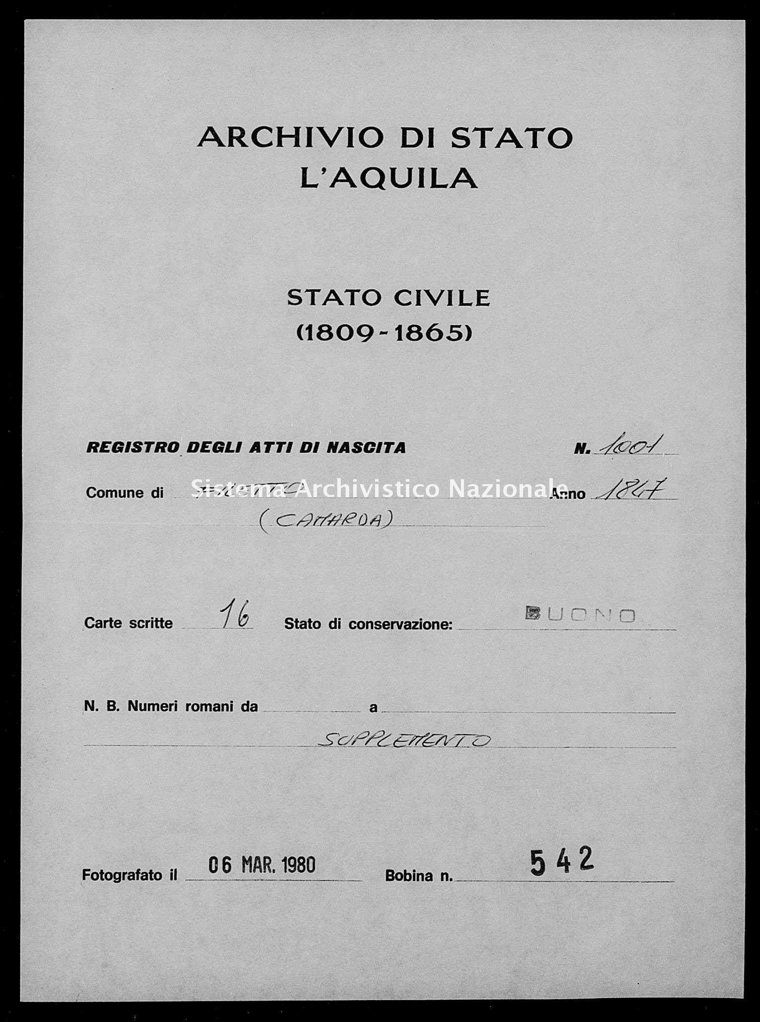 Archivio di stato di L'aquila - Stato civile della restaurazione - Filetto - Nati, battesimi - 1847 - 1001 -