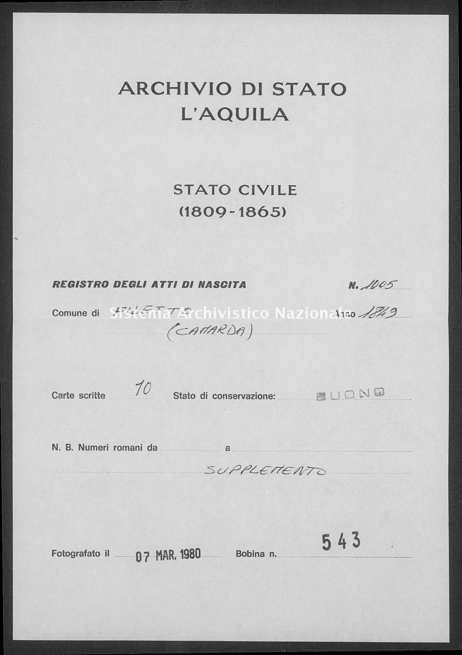Archivio di stato di L'aquila - Stato civile della restaurazione - Filetto - Nati, battesimi - 1849 - 1005 -
