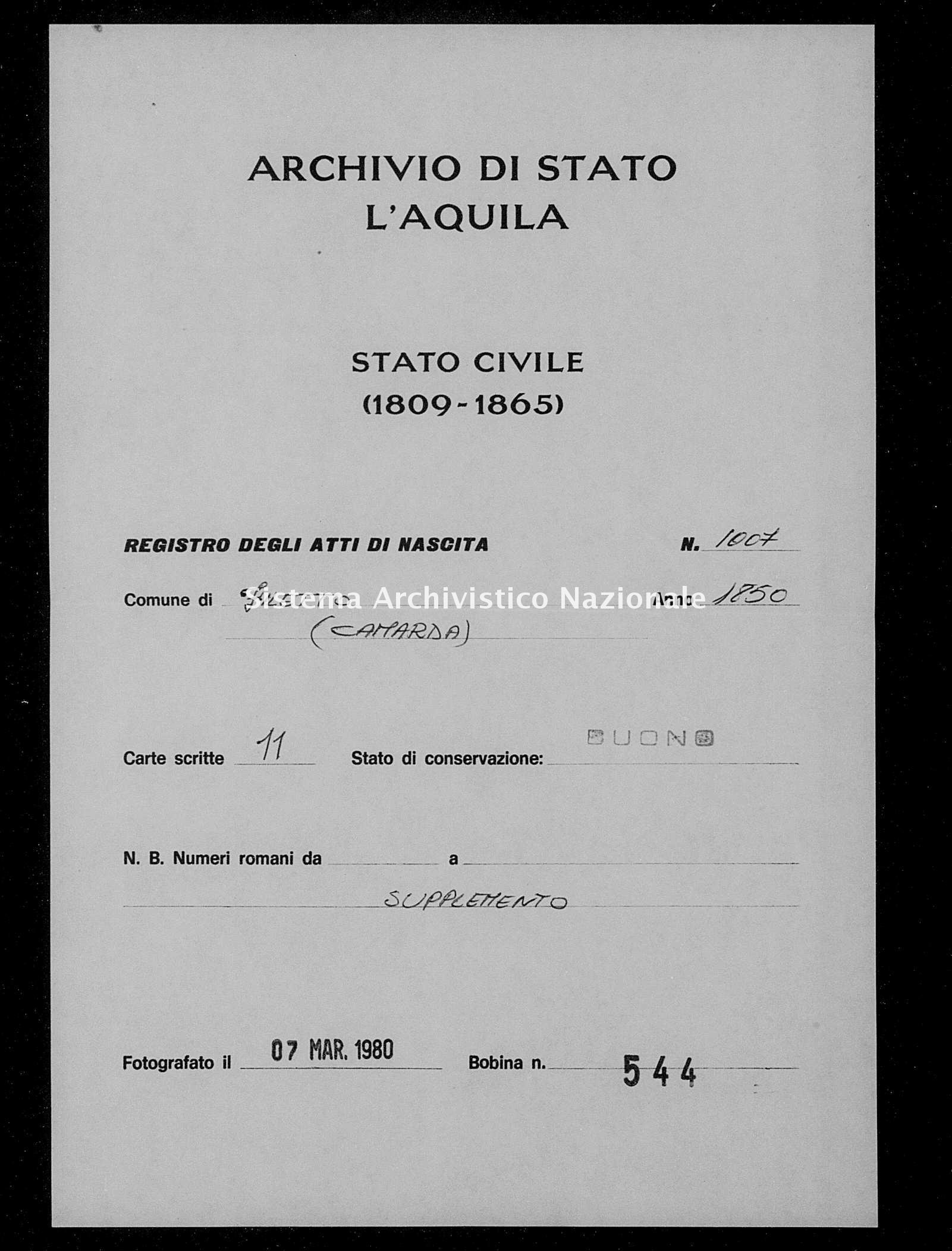 Archivio di stato di L'aquila - Stato civile della restaurazione - Filetto - Nati, battesimi - 1850 - 1007 -