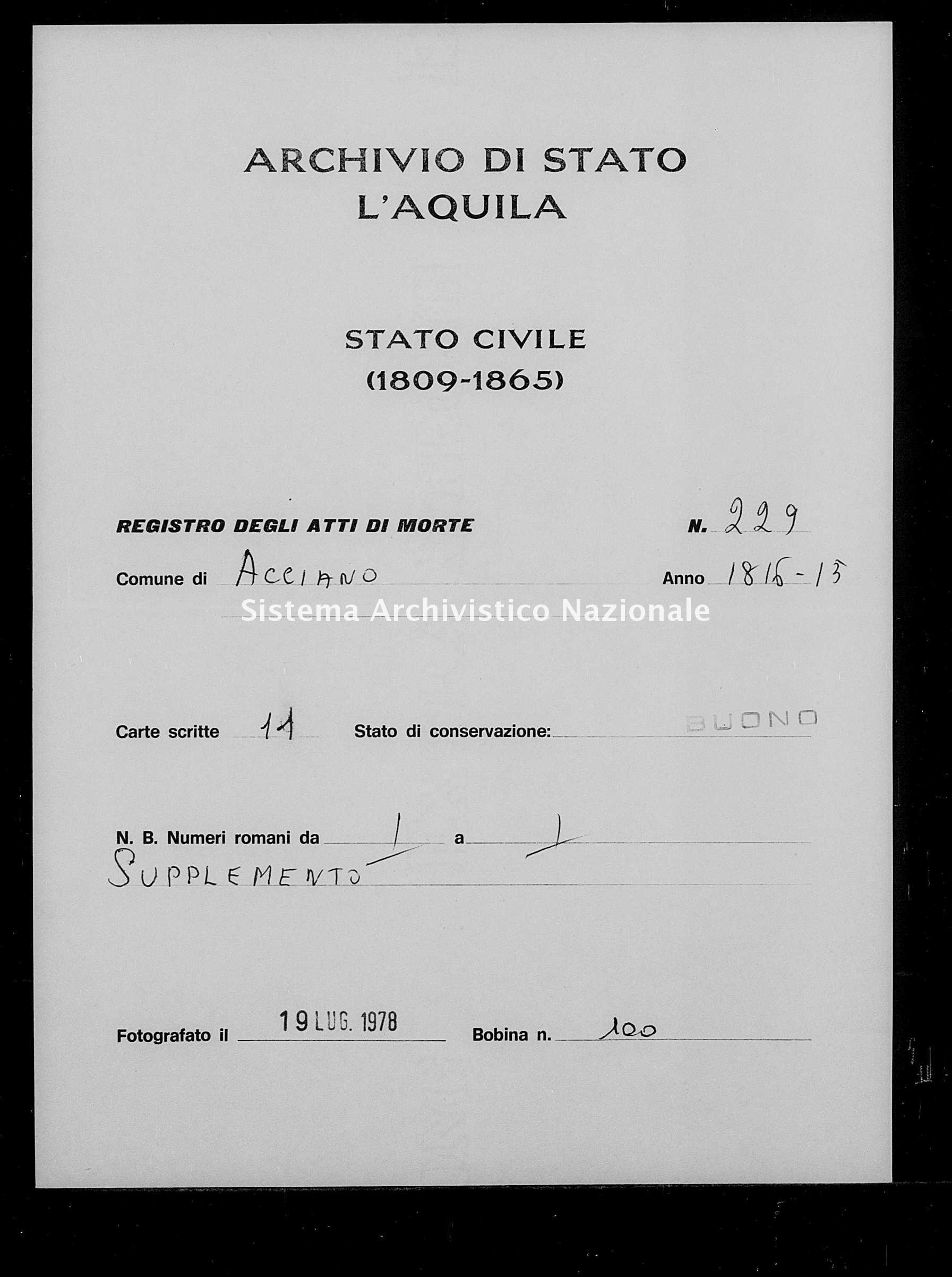 Archivio di stato di L'aquila - Stato civile della restaurazione - Acciano - Morti - 1816 - 229 -