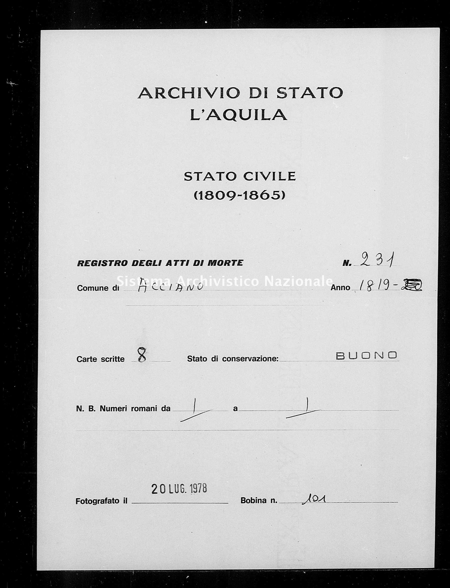 Archivio di stato di L'aquila - Stato civile della restaurazione - Acciano - Morti - 1819 - 231 -