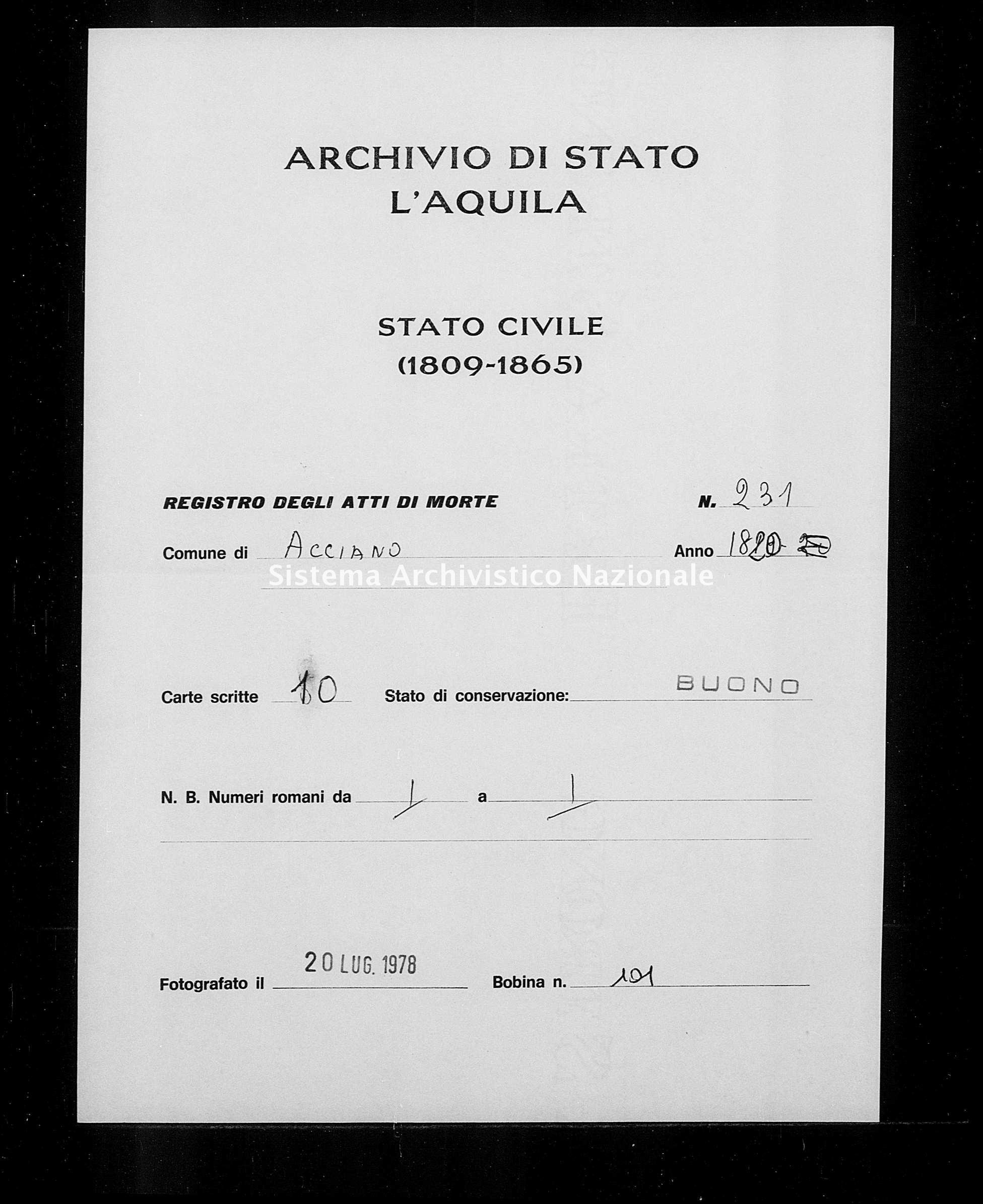 Archivio di stato di L'aquila - Stato civile della restaurazione - Acciano - Morti - 1820 - 231 -