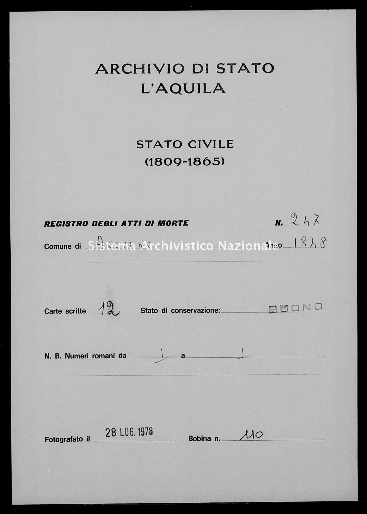 Archivio di stato di L'aquila - Stato civile della restaurazione - Acciano - Morti - 1848 - 247 -