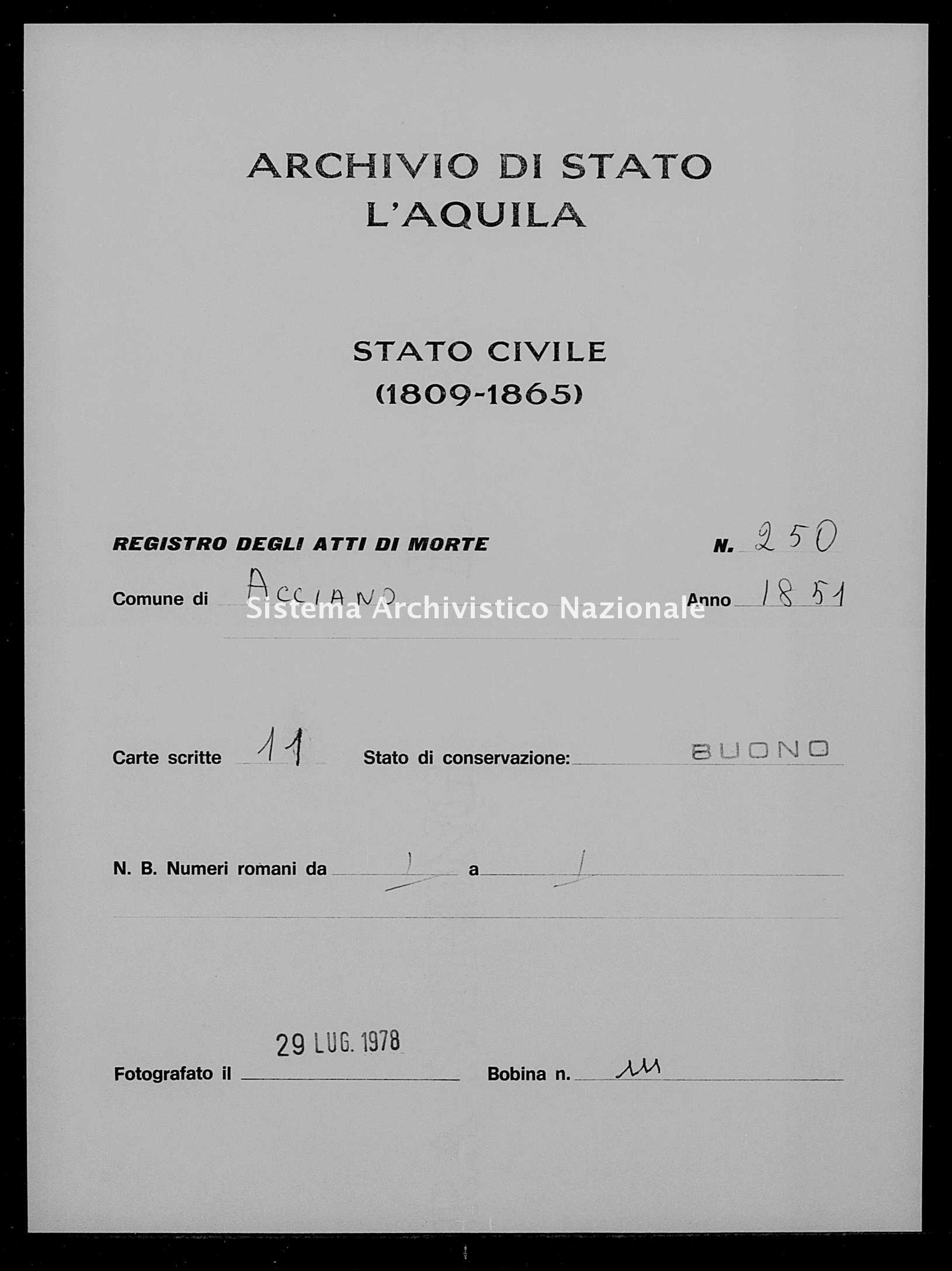 Archivio di stato di L'aquila - Stato civile della restaurazione - Acciano - Morti - 1851 - 250 -