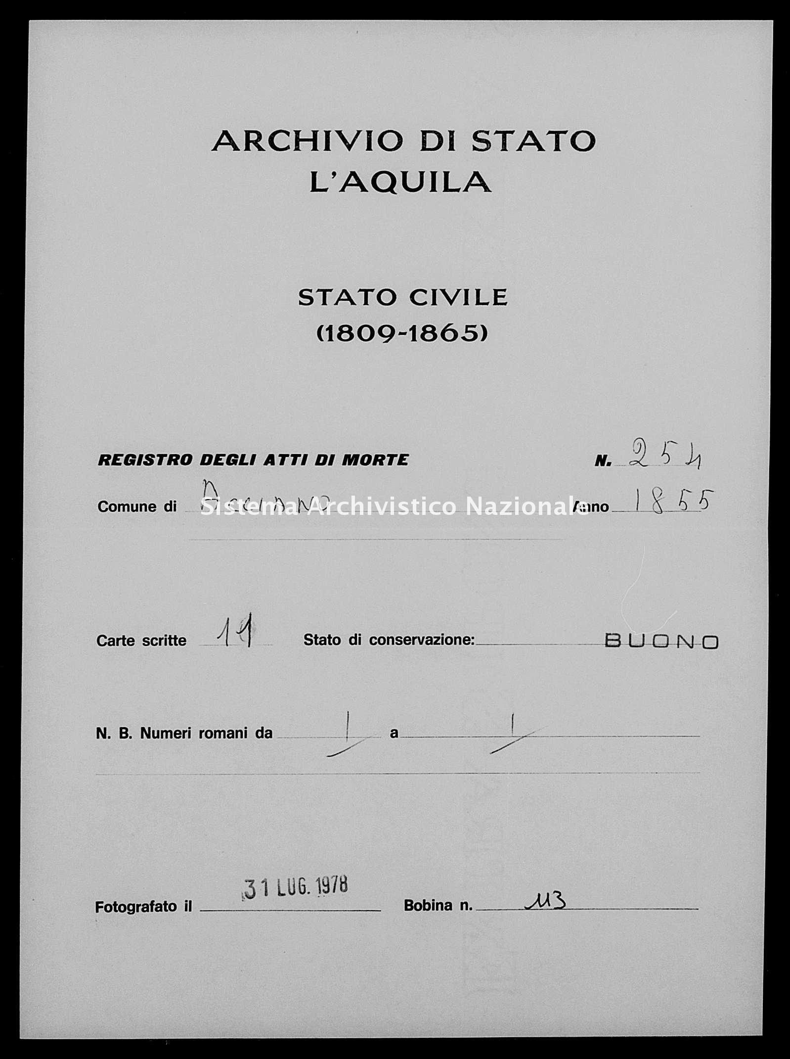 Archivio di stato di L'aquila - Stato civile della restaurazione - Acciano - Morti - 1855 - 254 -