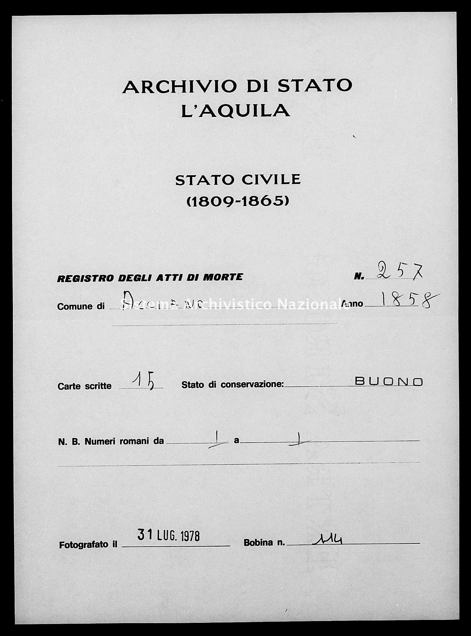Archivio di stato di L'aquila - Stato civile della restaurazione - Acciano - Morti - 1858 - 257 -