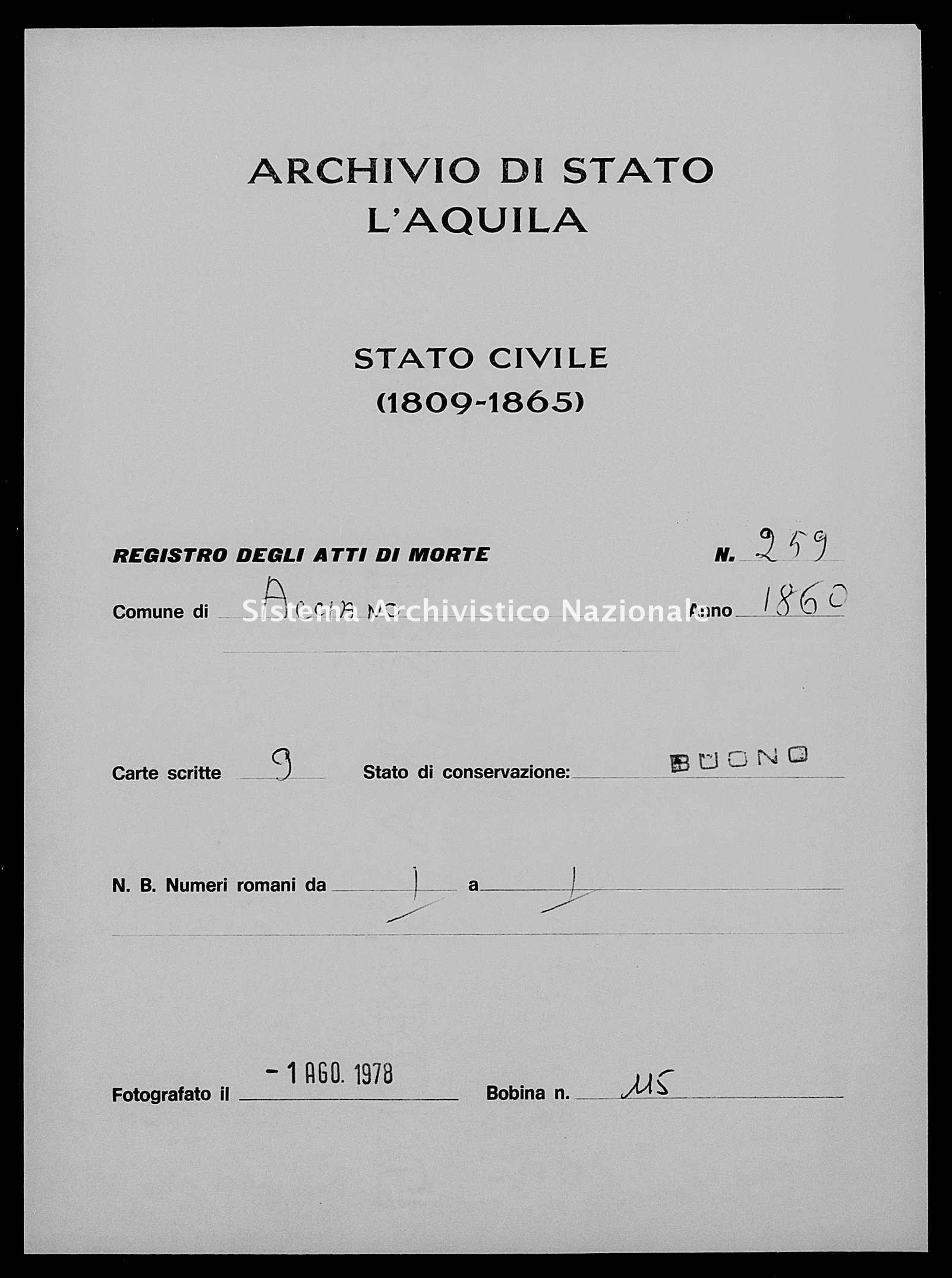 Archivio di stato di L'aquila - Stato civile della restaurazione - Acciano - Morti - 1860 - 259 -