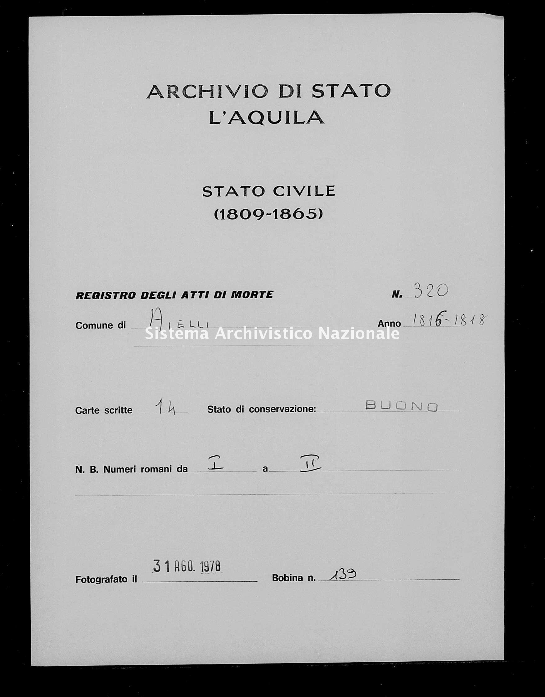 Archivio di stato di L'aquila - Stato civile della restaurazione - Aielli - Morti - 1816 - 320 -