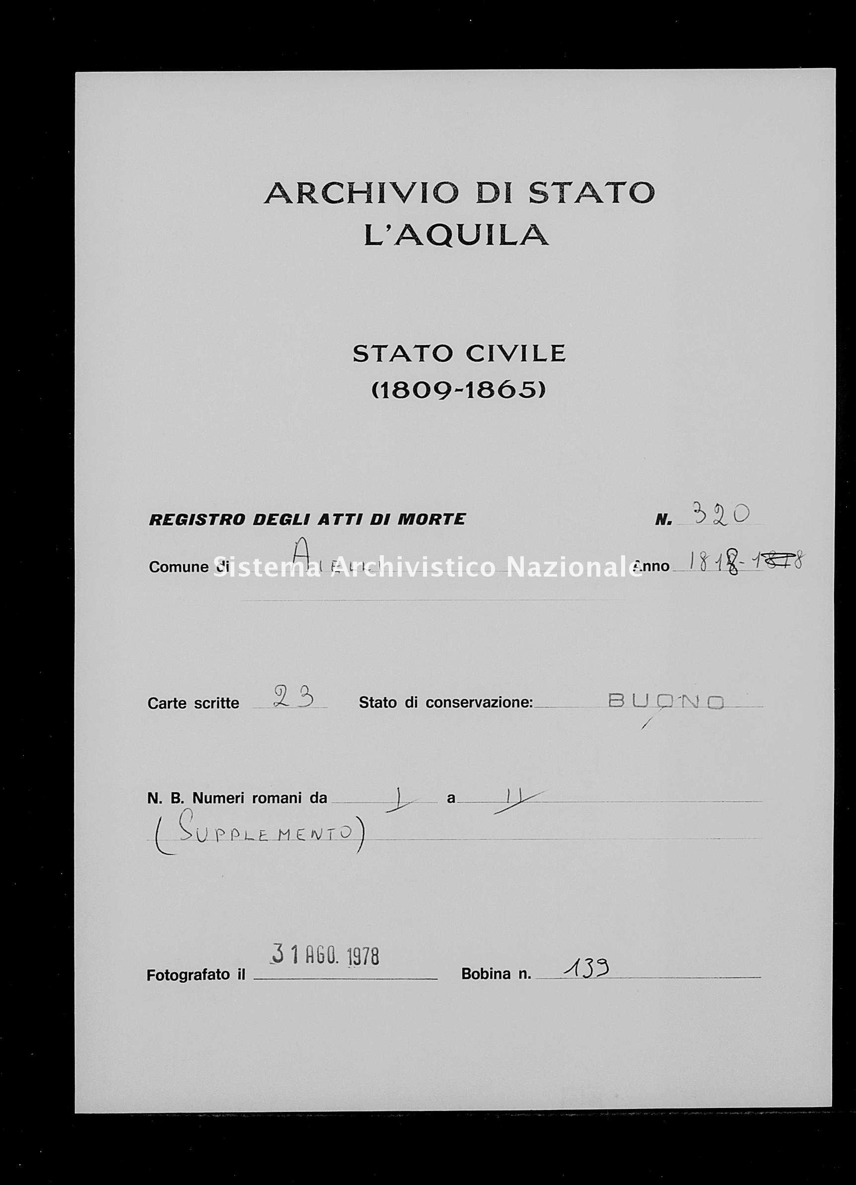 Archivio di stato di L'aquila - Stato civile della restaurazione - Aielli - Morti - 1818 - 320 -