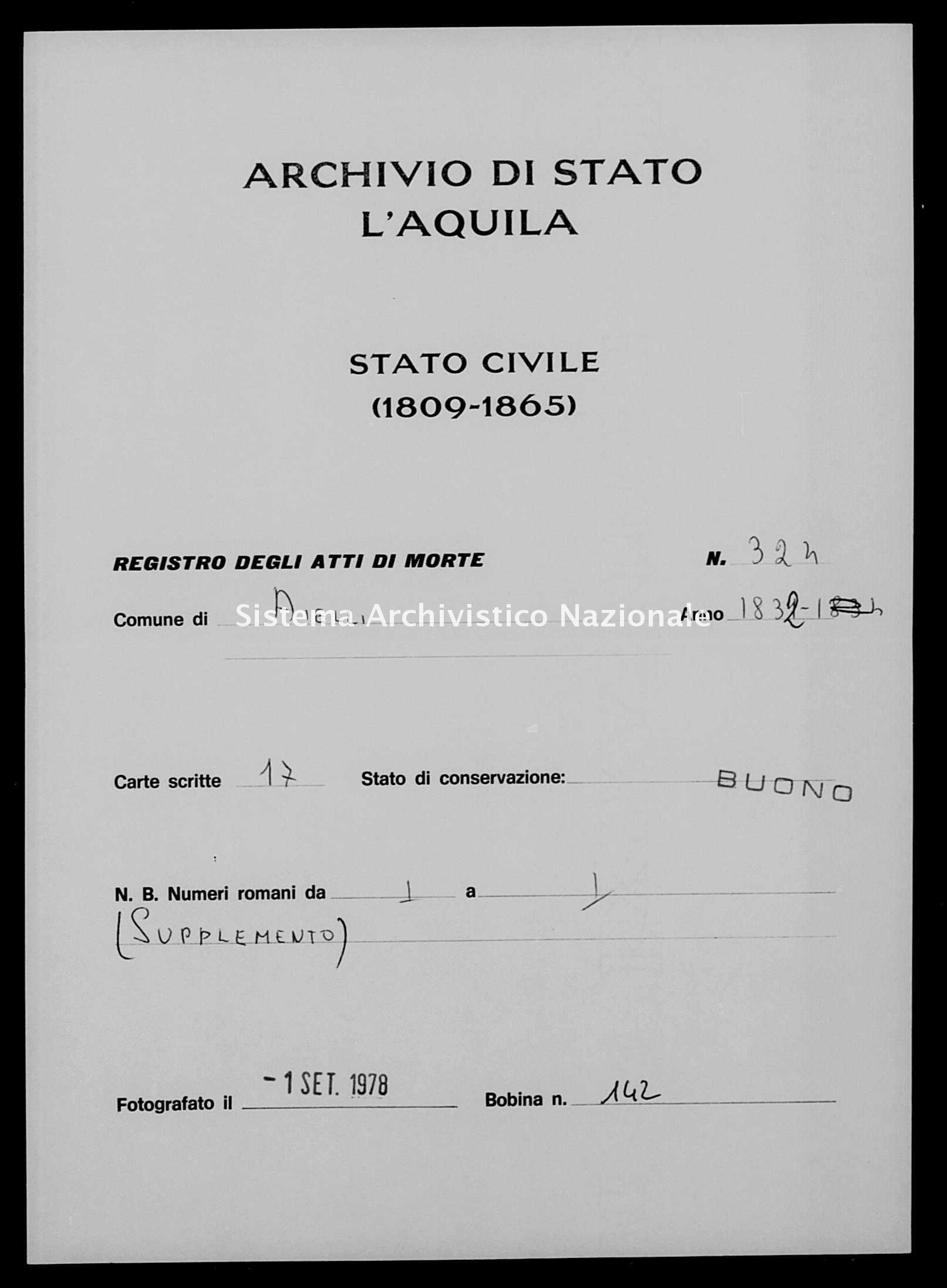 Archivio di stato di L'aquila - Stato civile della restaurazione - Aielli - Morti - 1832 - 324 -