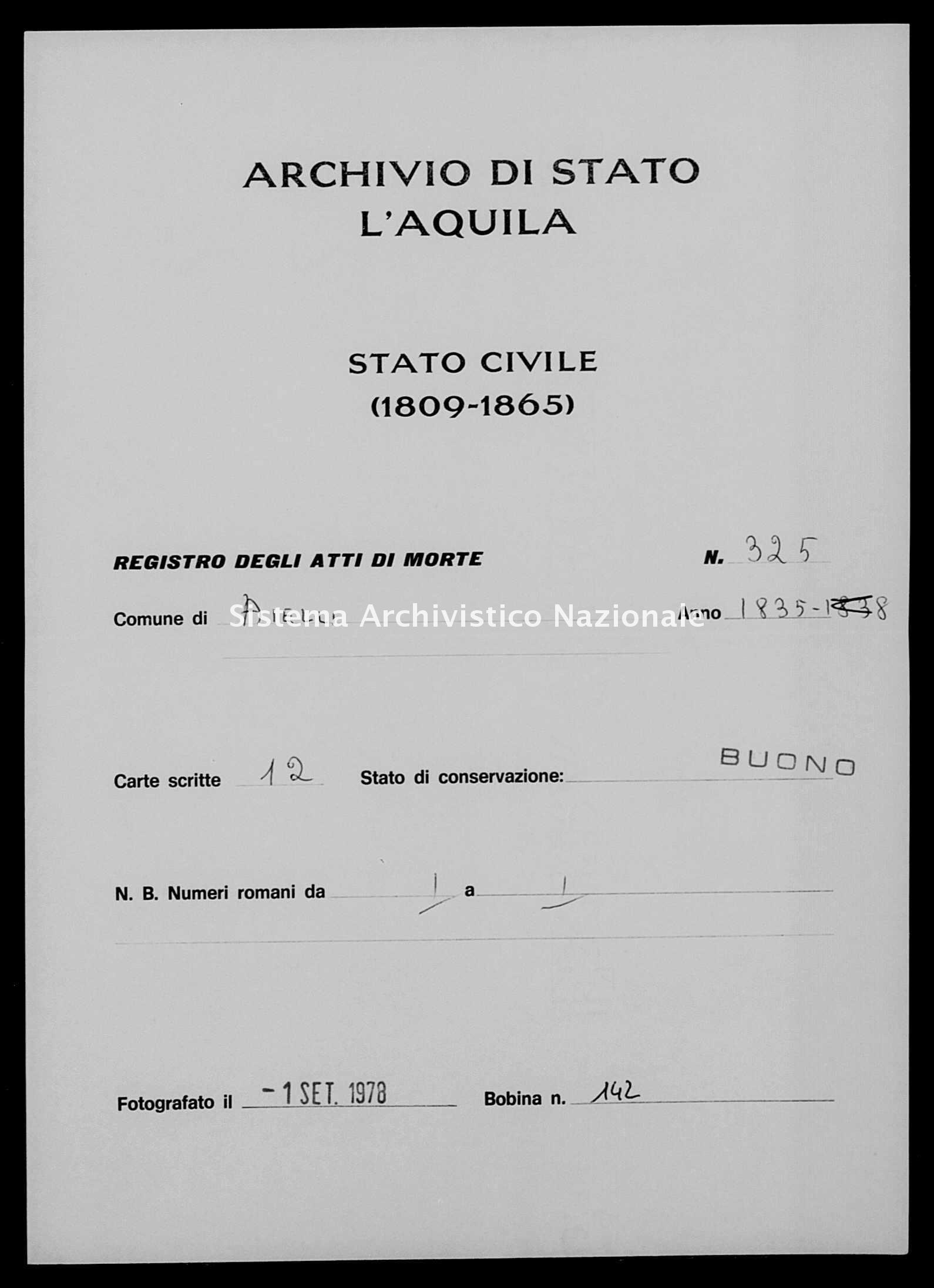 Archivio di stato di L'aquila - Stato civile della restaurazione - Aielli - Morti - 1835 - 325 -