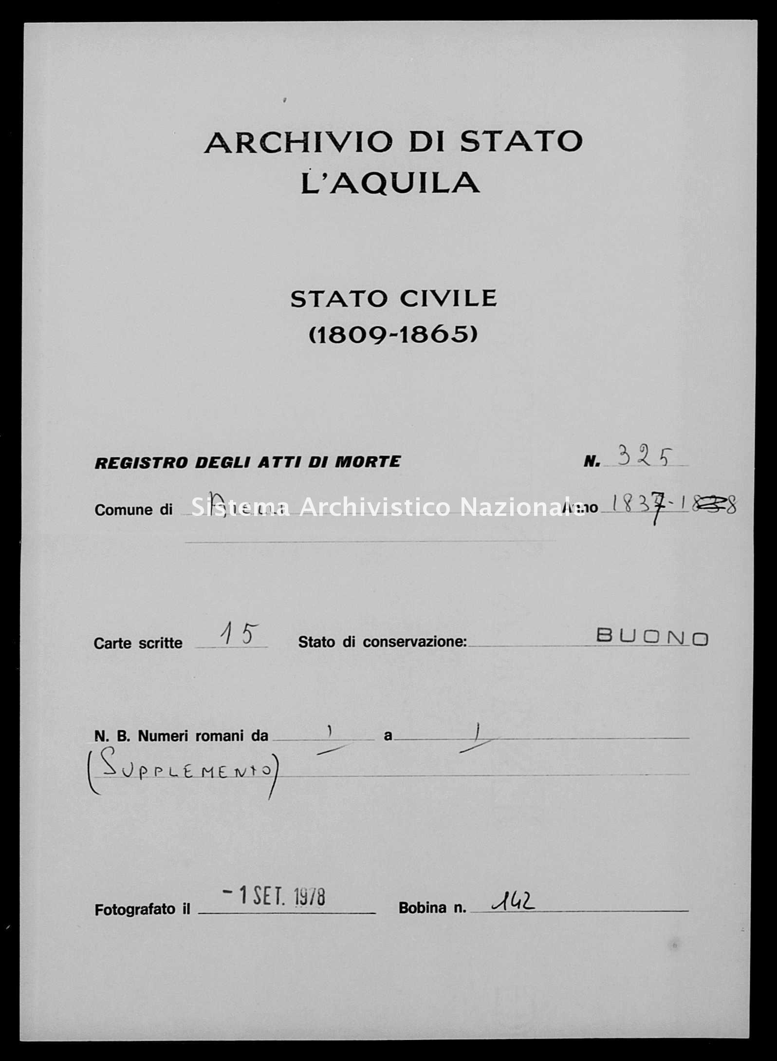 Archivio di stato di L'aquila - Stato civile della restaurazione - Aielli - Morti - 1837 - 325 -