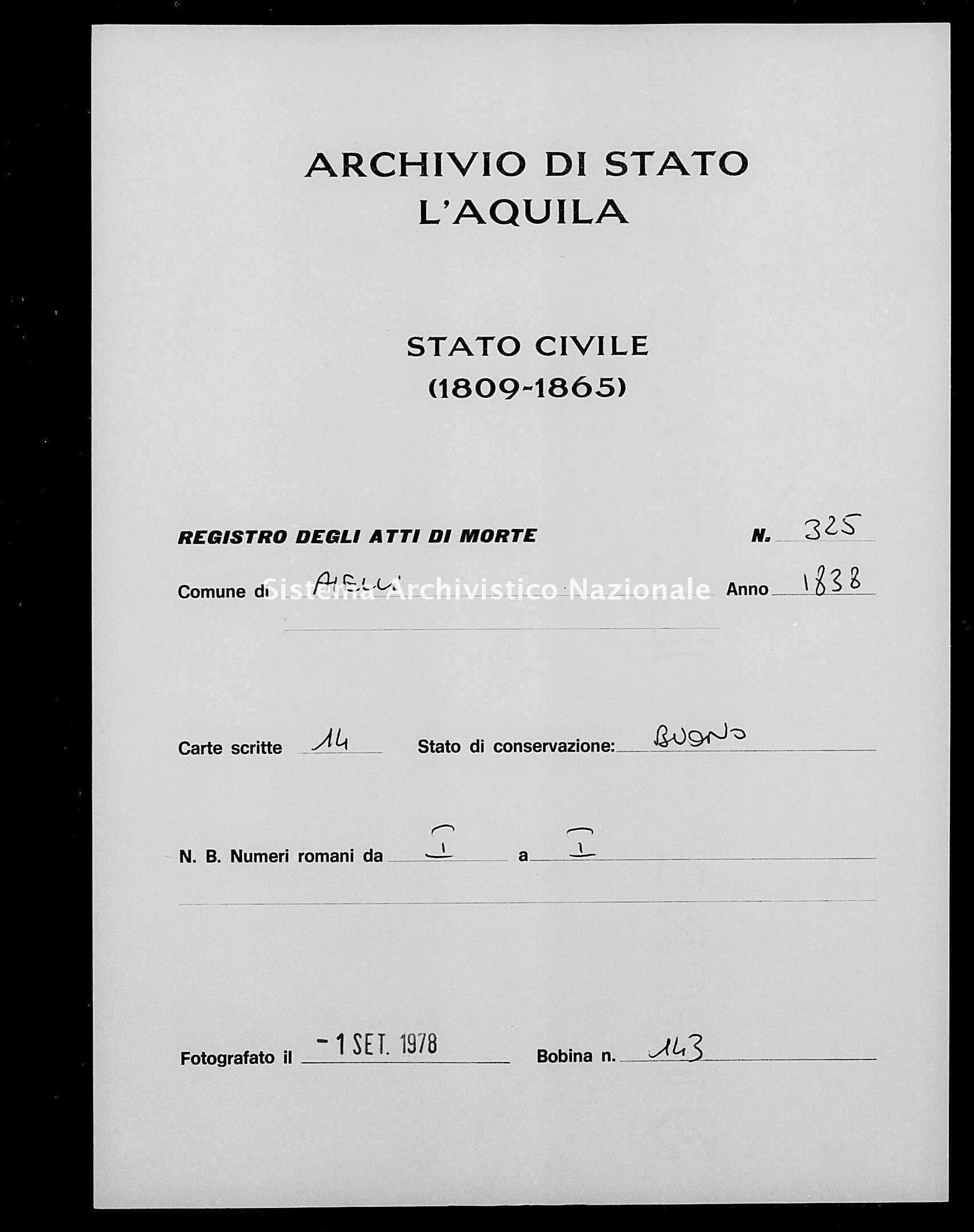 Archivio di stato di L'aquila - Stato civile della restaurazione - Aielli - Morti - 1838 - 325 -