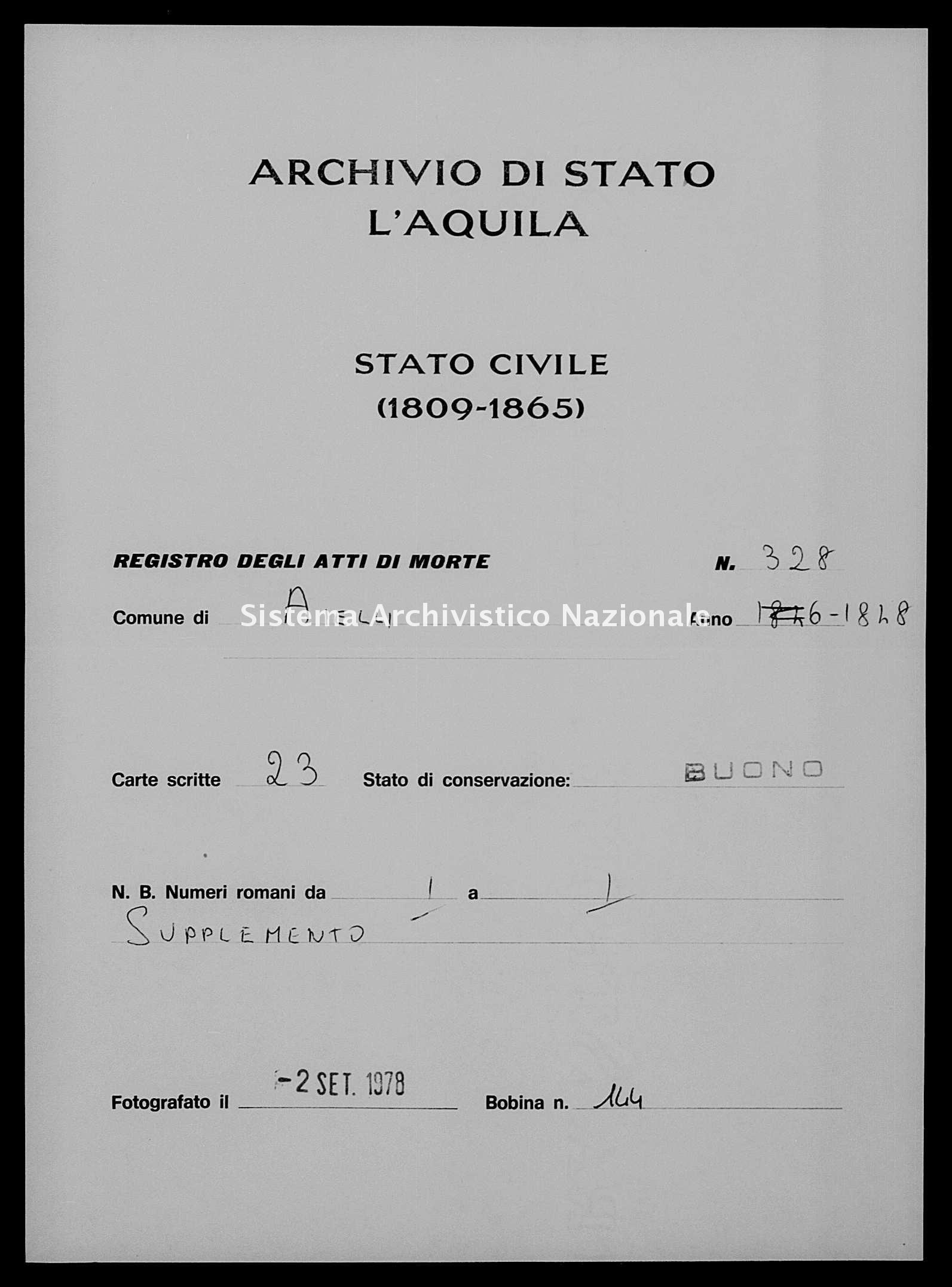 Archivio di stato di L'aquila - Stato civile della restaurazione - Aielli - Morti - 1848 - 328 -