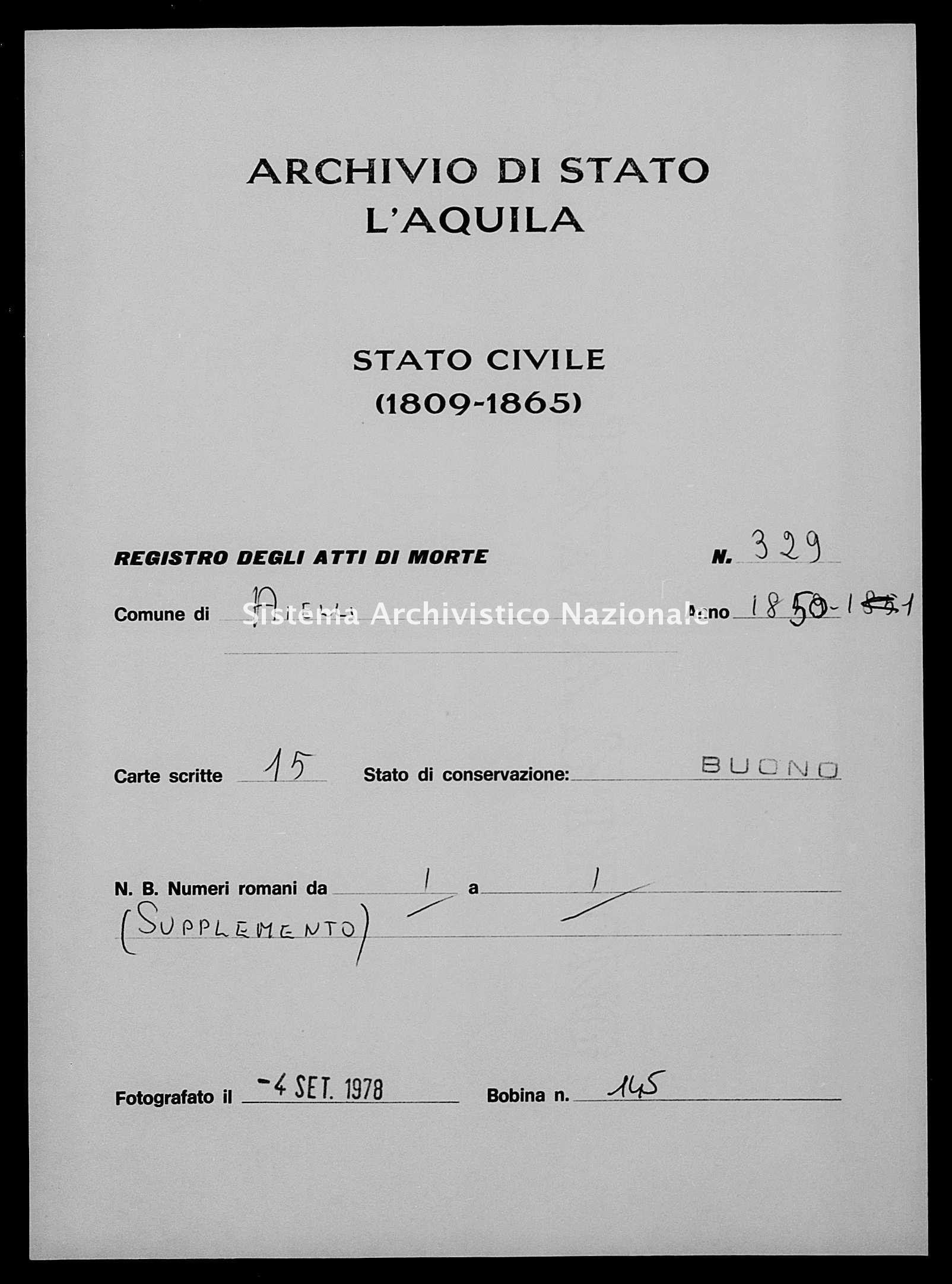 Archivio di stato di L'aquila - Stato civile della restaurazione - Aielli - Morti - 1850 - 329 -