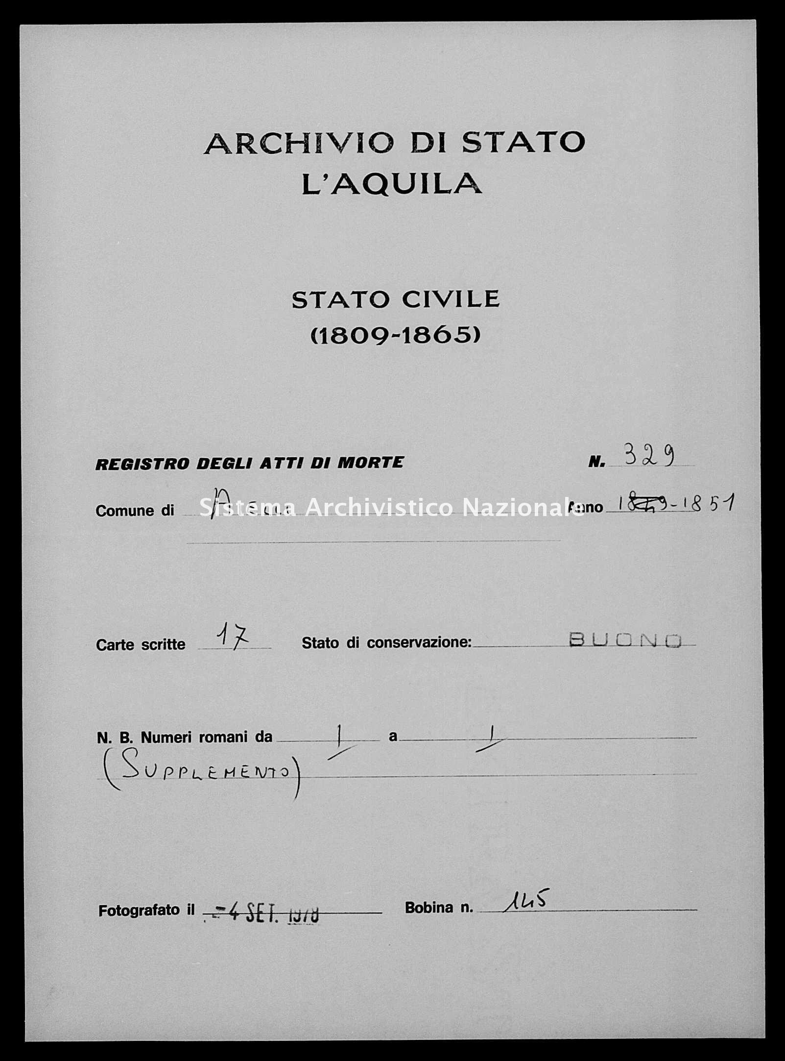 Archivio di stato di L'aquila - Stato civile della restaurazione - Aielli - Morti - 1851 - 329 -